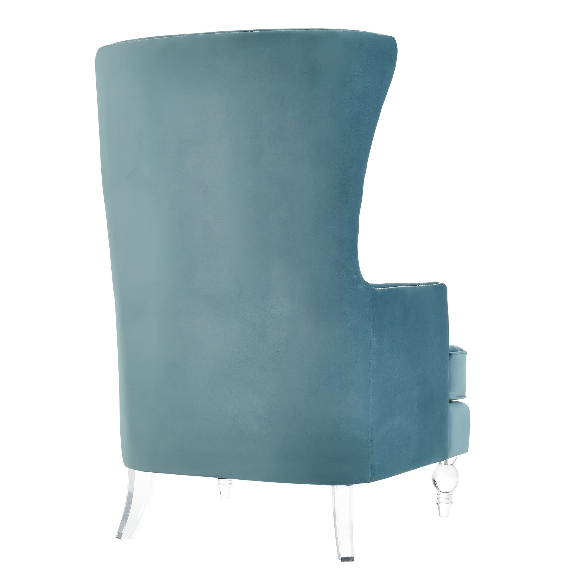 Teal Wingback Chair Lucite Bristol Sea Blue Velvet Wingback Chair