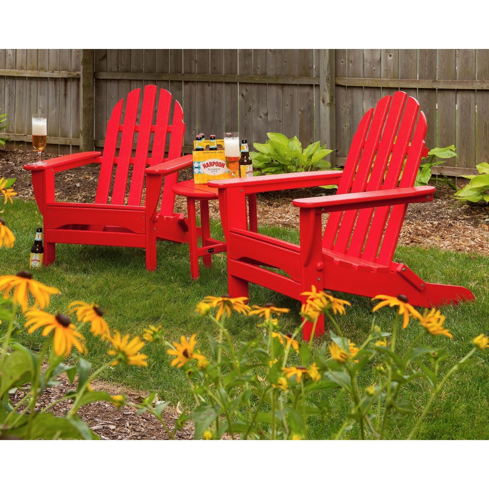 Red Adirondack Chairs Polywood Classic Outdoor Folding Adirondack Chair