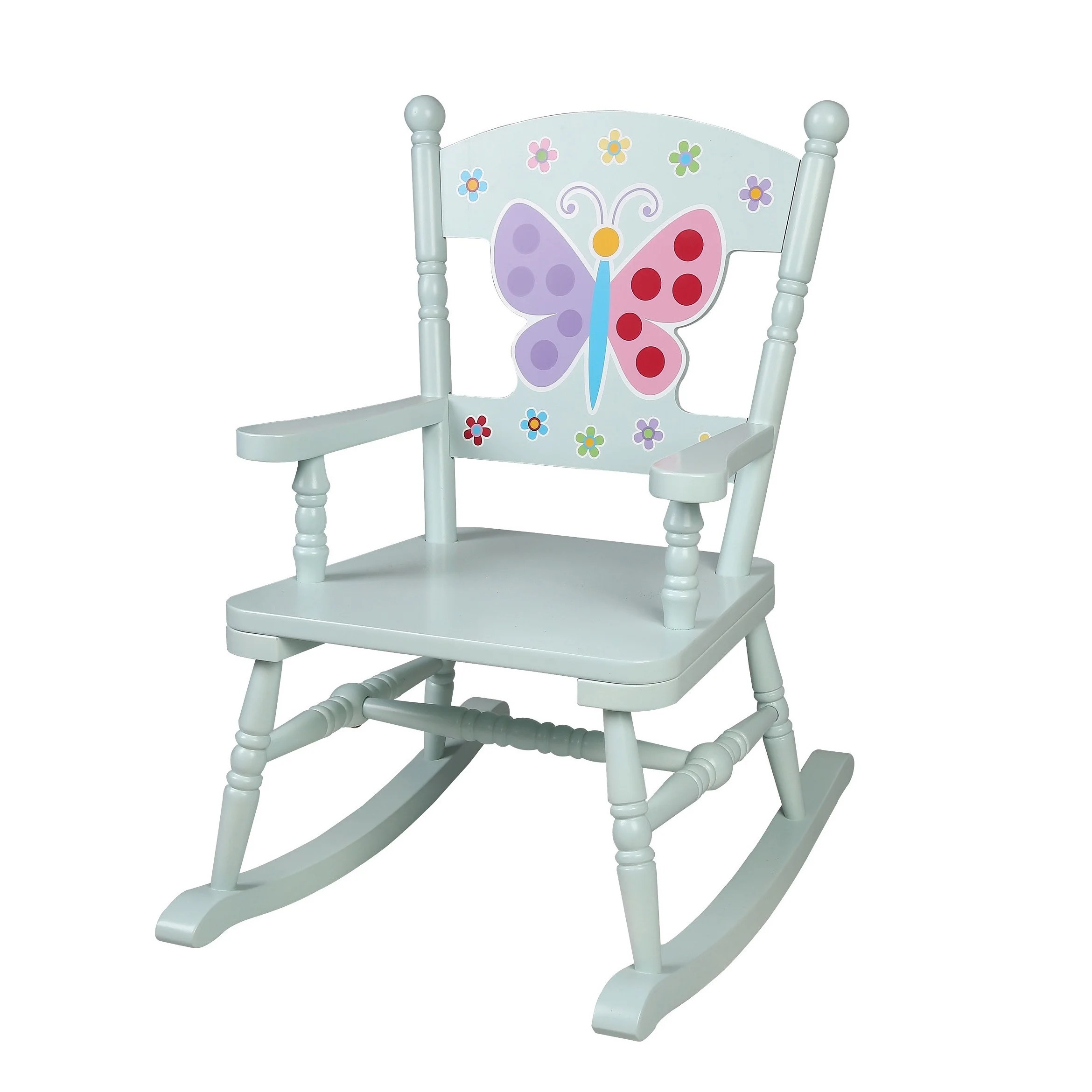 Kids Rocking Chairs Levels Of Discovery Olive Kids Blue Wood Butterfly Garden Rocking Chair