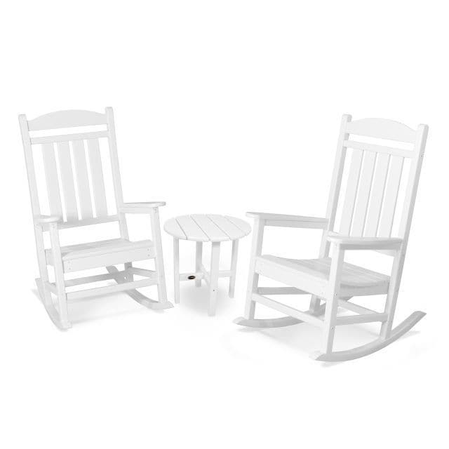 rocking chair white outdoor adirondack prints shop polywood presidential 3 piece set with round table free shipping today overstock com 14001822