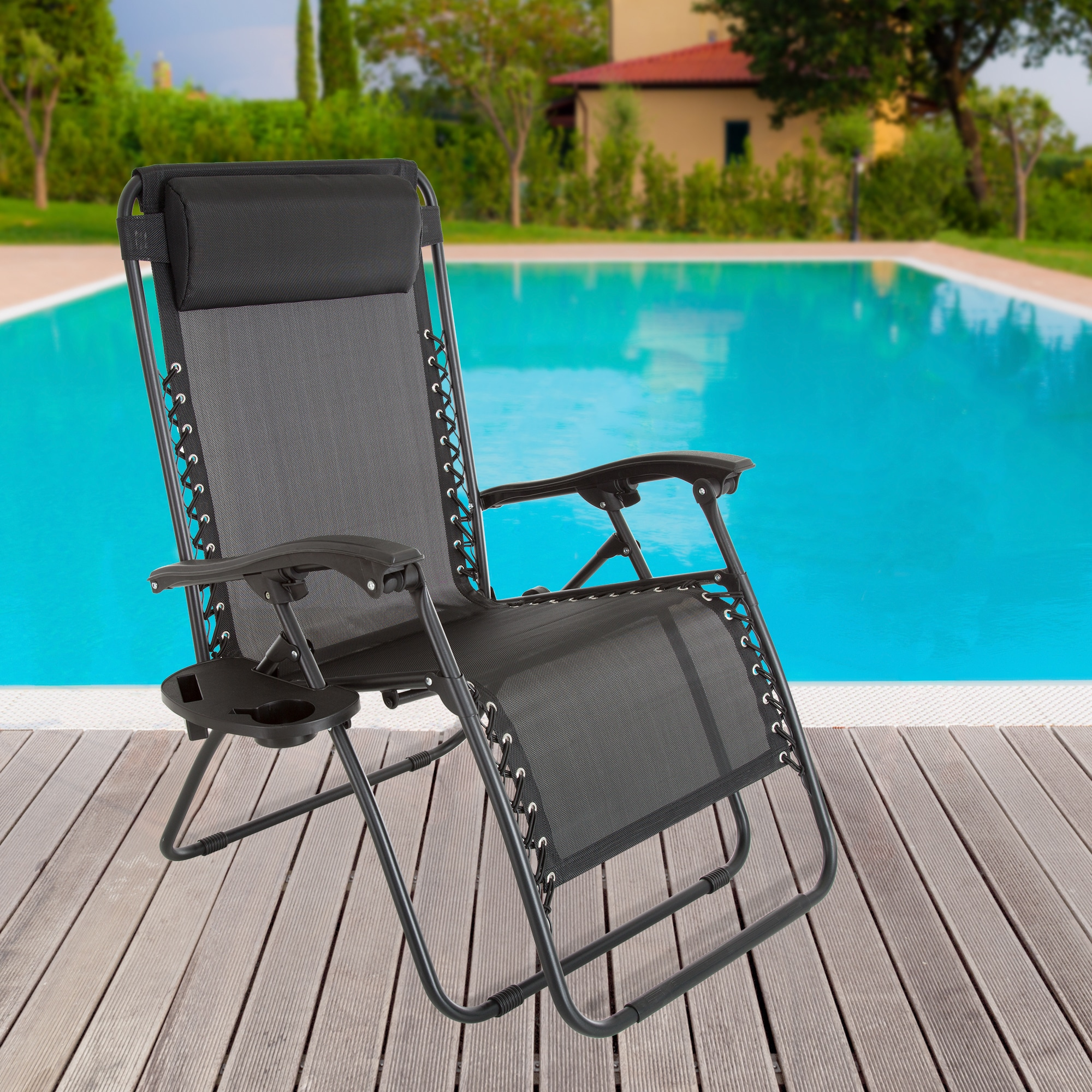 zero gravity pool chairs black hanging chair for bedroom shop outdoor reclining foldable lounge with pillow headrest and cup holder pure garden on sale free shipping today overstock com