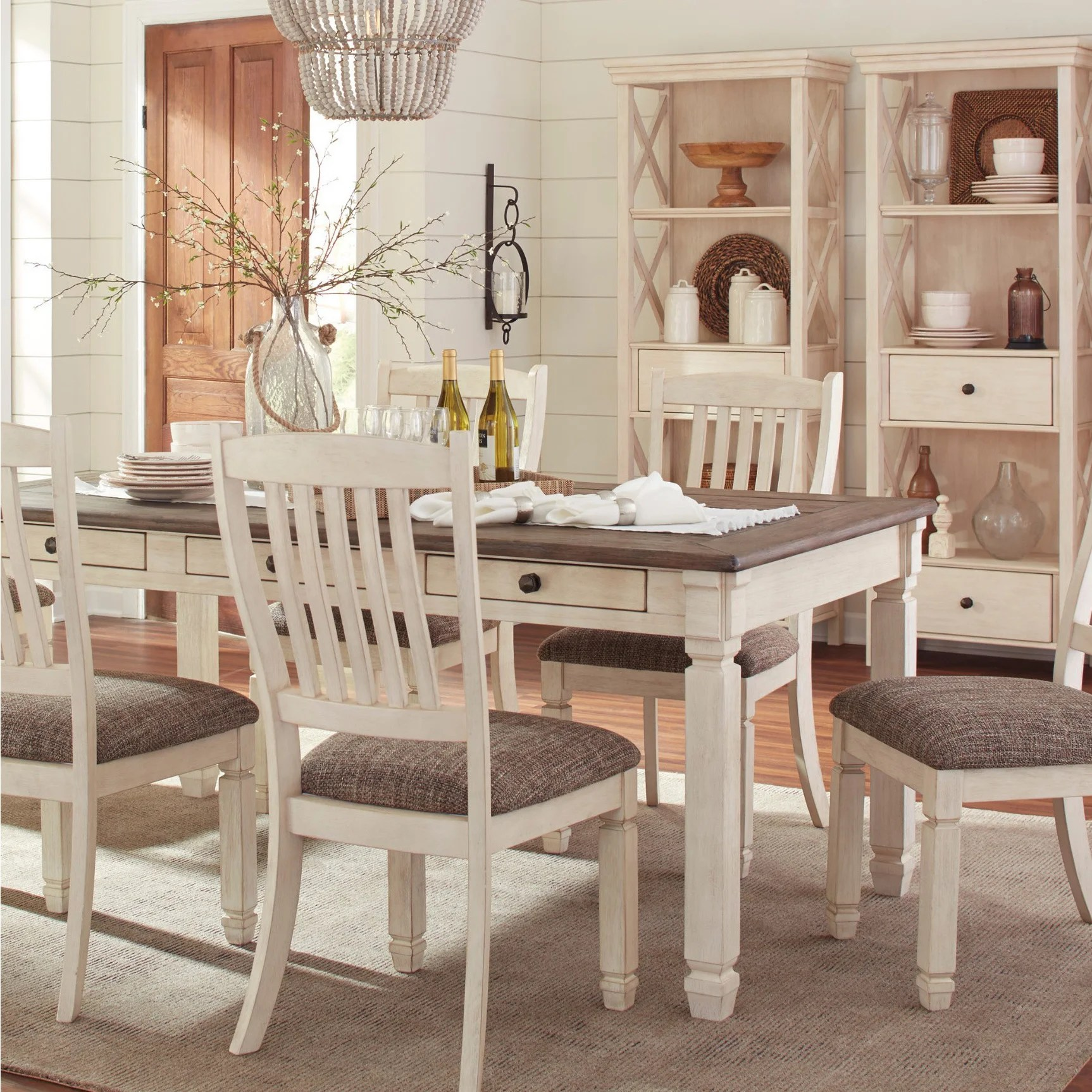 White Dining Room Chair Bolanburg Two Tone Antique White Dining Table