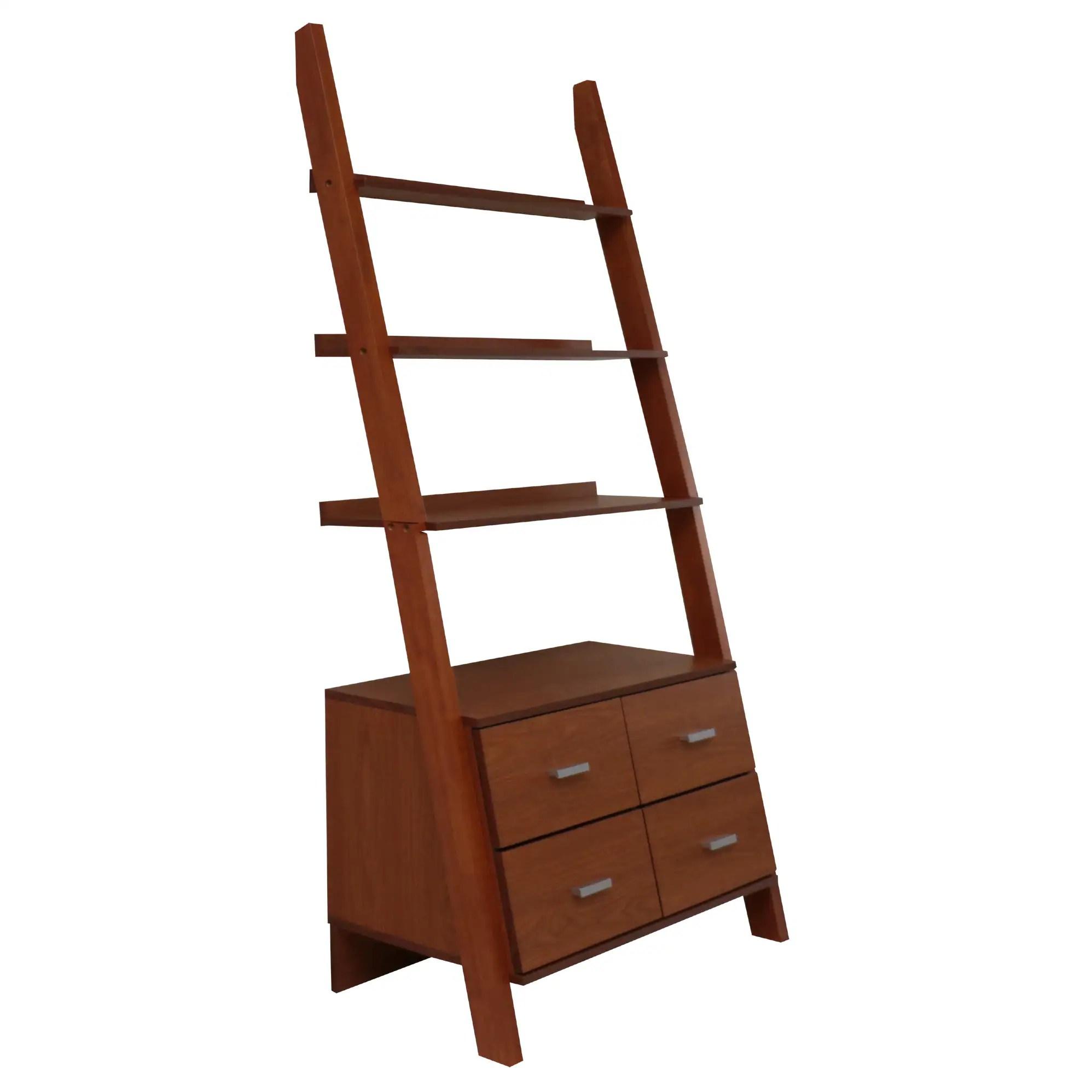 Oak Finished Leaning Ladder Bookshelf With Drawers