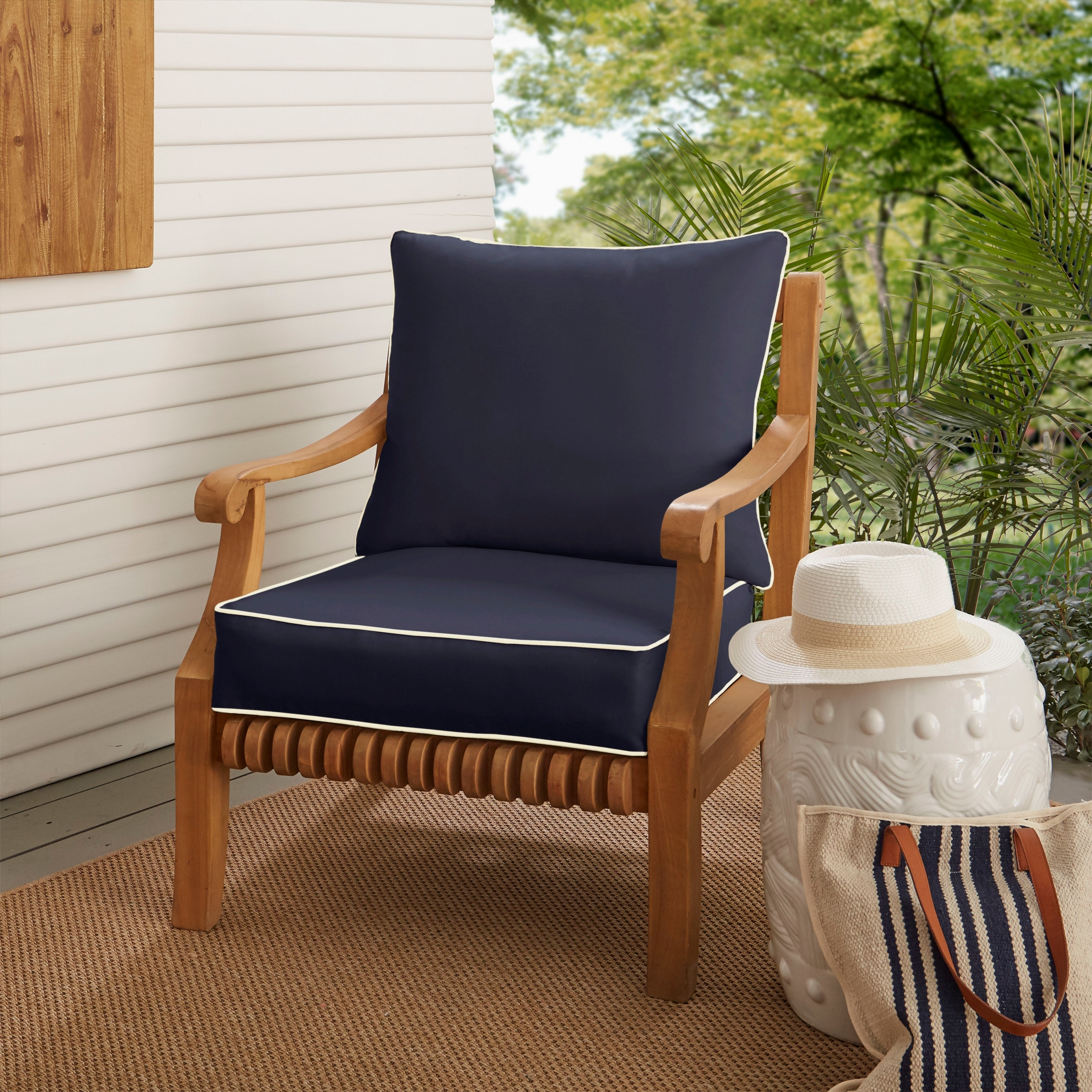 Outdoor Chair Set Sunbrella Navy With Ivory Indoor Outdoor Chair Cushion And Pillow Set Corded