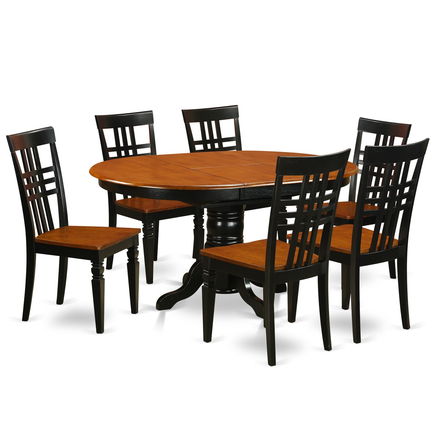 Black Dining Room Table And Chairs Kelg7 W 7 Piece Dinette Set With One Kenley Table And Six Dining Room Chairs
