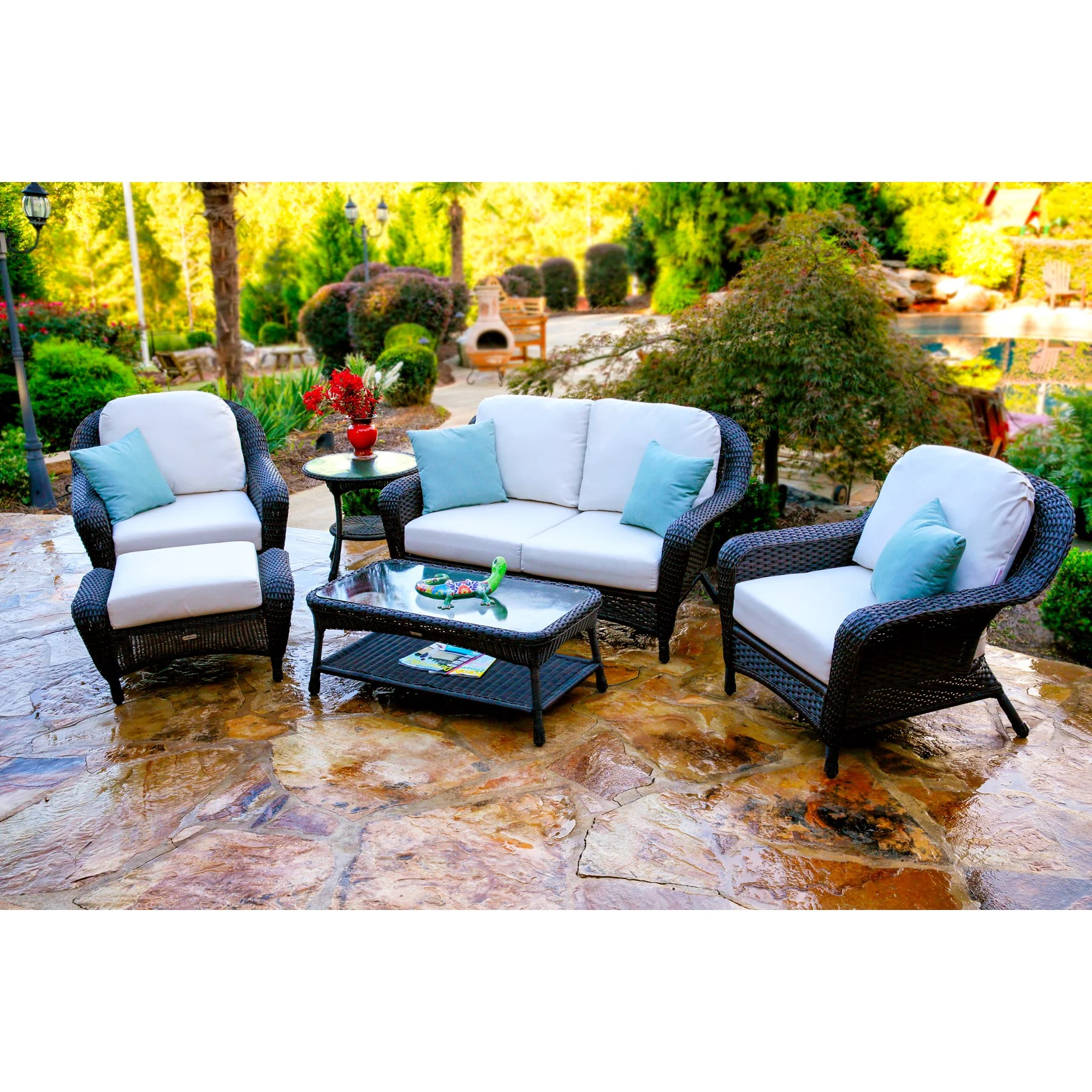 Wicker Patio Chair Lexington Dark Wicker Outdoor 6 Piece Patio Furniture Set With Cushions