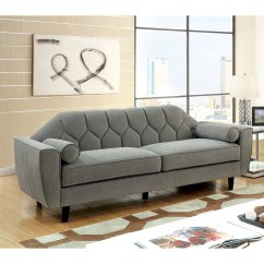 Tufted Button Sofa Cream Arm Covers Shop Furniture Of America Ferine Contemporary Curved Fabric Grey