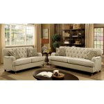Shop Black Friday Deals On Furniture Of America Moor Traditional Beige Fabric Button Tufted Sofa On Sale Overstock 14566061