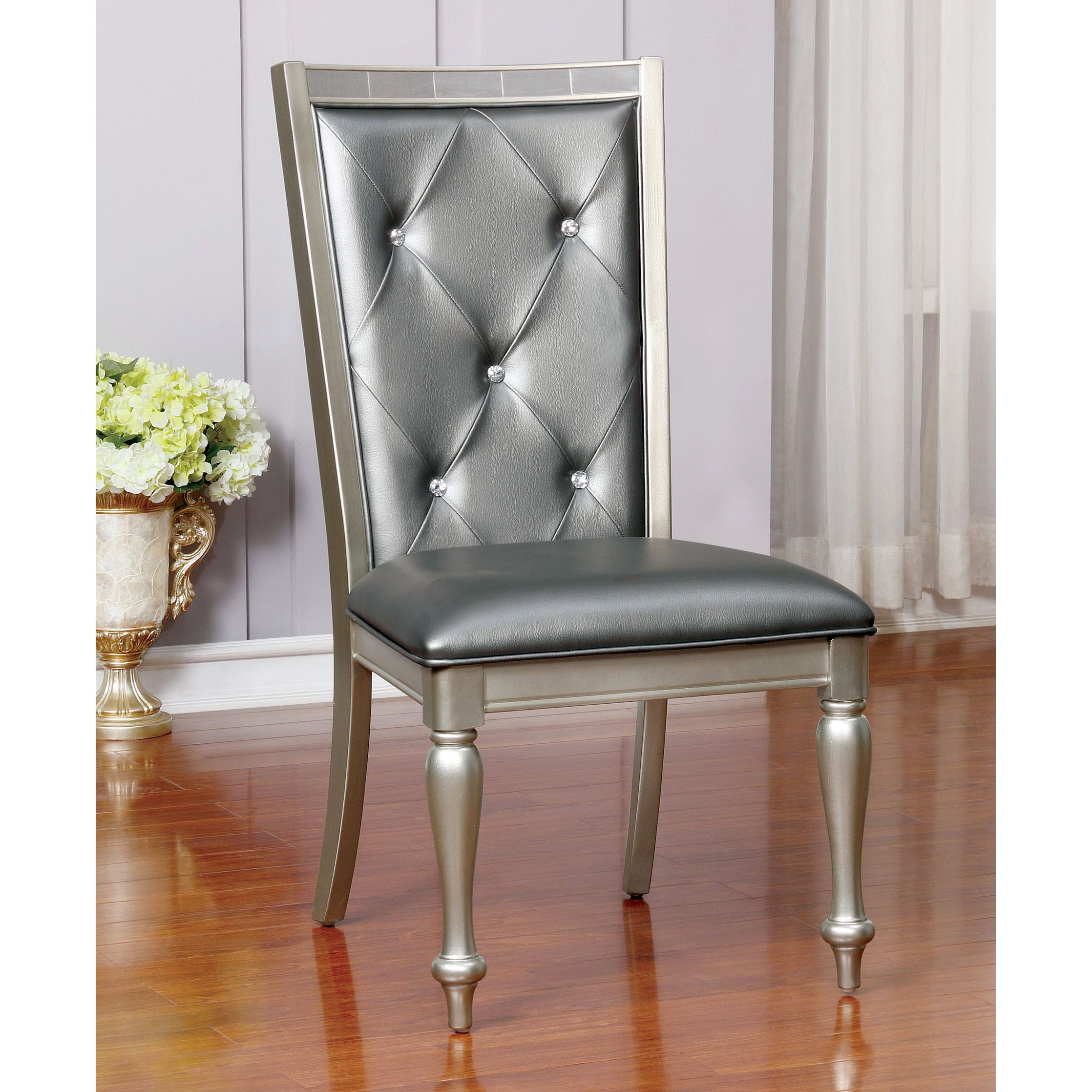 Silver Dining Chairs Glendel Contemporary Silver Grey Dining Chairs Set Of 2 By Foa