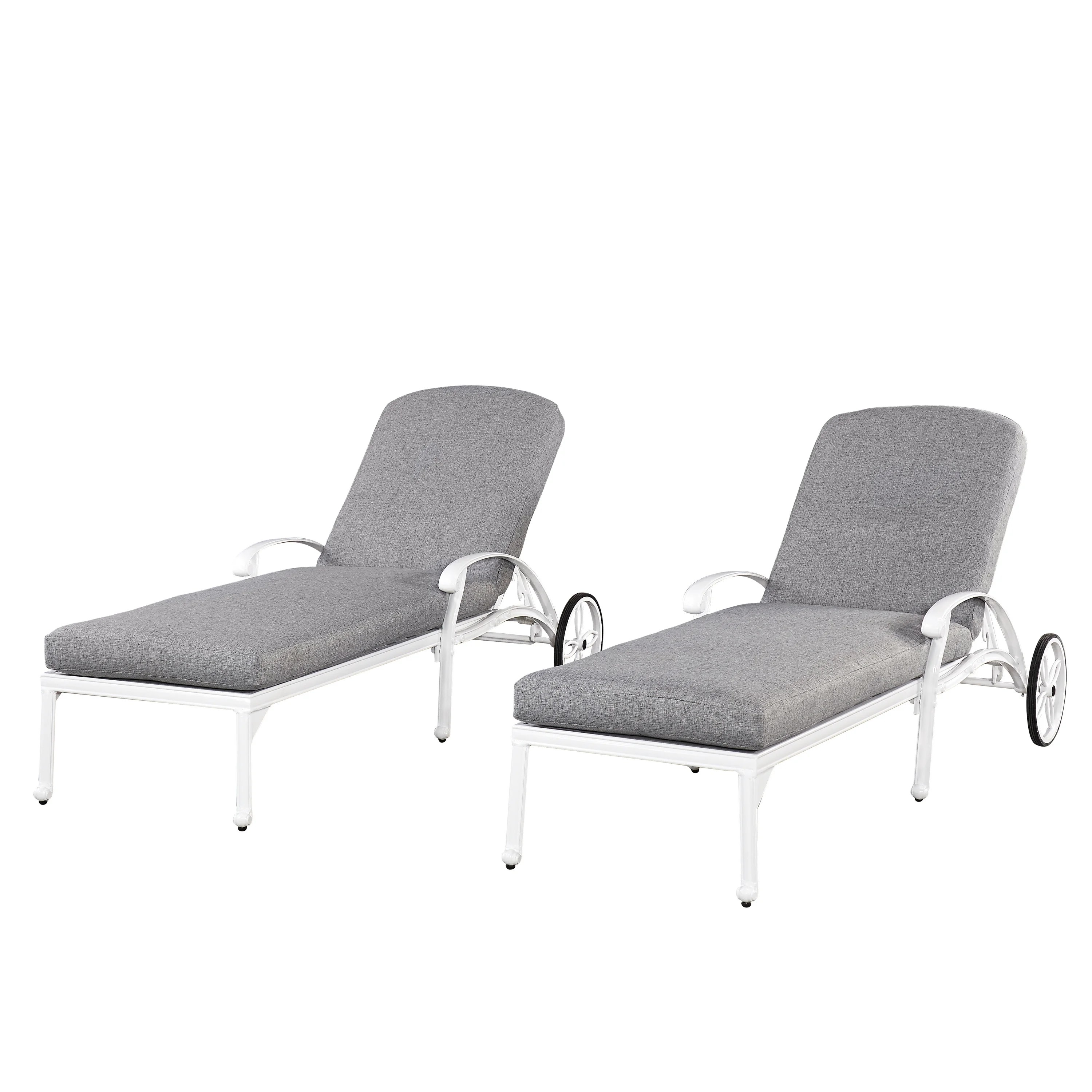 White Outdoor Lounge Chair Home Styles Floral Blossom White Chaise Lounge Chairs W Cushions 2