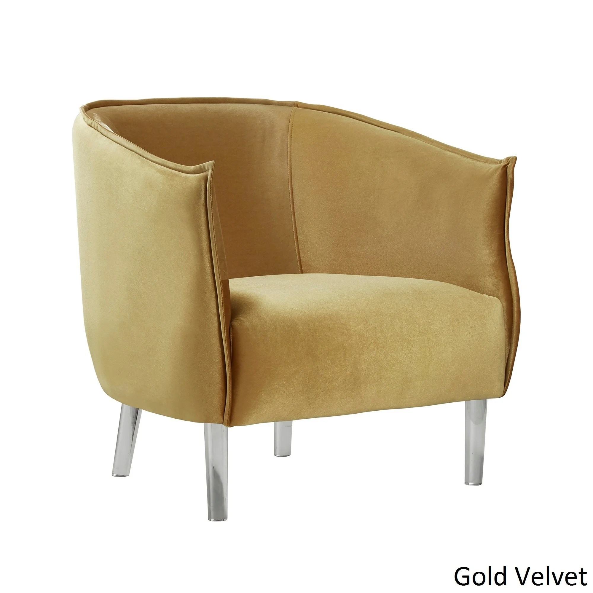 Curved Back Chair Vianne Velvet Curved Back Acrylic Leg Accent Chair By Inspire Q Bold