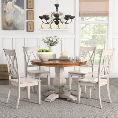 Antique White Dining Chairs Dorm Room Desk Chair Slipcovers Shop Eleanor Round Solid Wood Top 5 Piece Set X Back By Inspire Q Classic