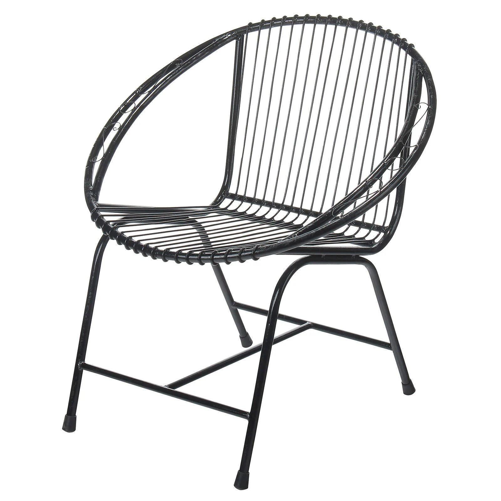 black wire chair cane barrel shop handmade terrace metal filigree indonesia