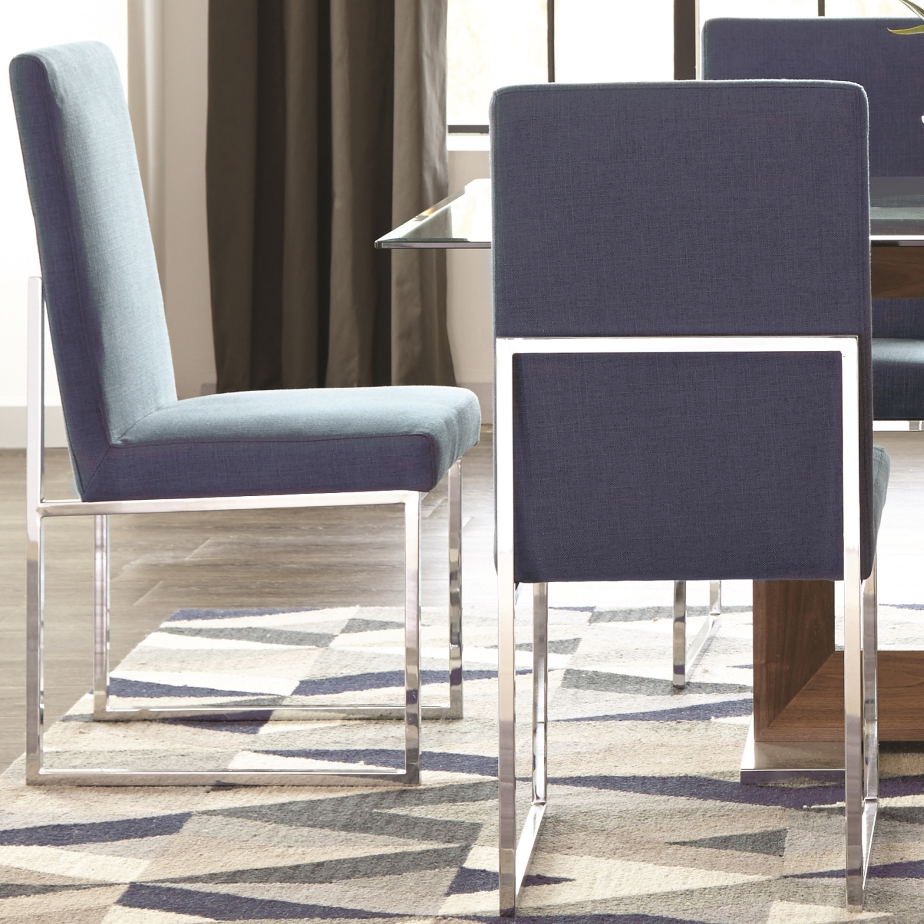 Blue Dining Chairs Modern Floating Design Blue Dining Chairs Set Of 2