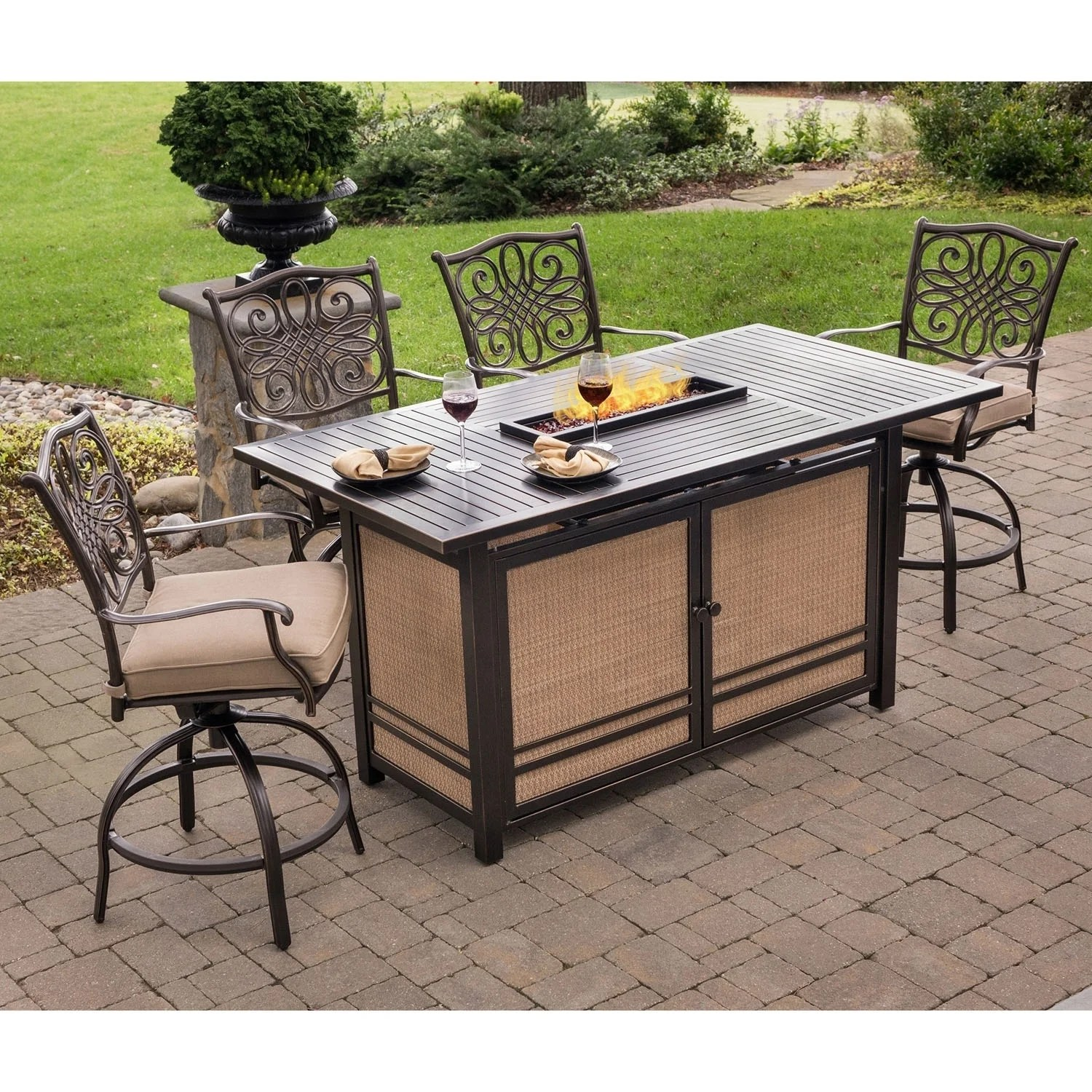 table with swivel chairs desk chair reddit shop traditions 5 piece high dining set in tan 4 and a 30 000 btu fire pit