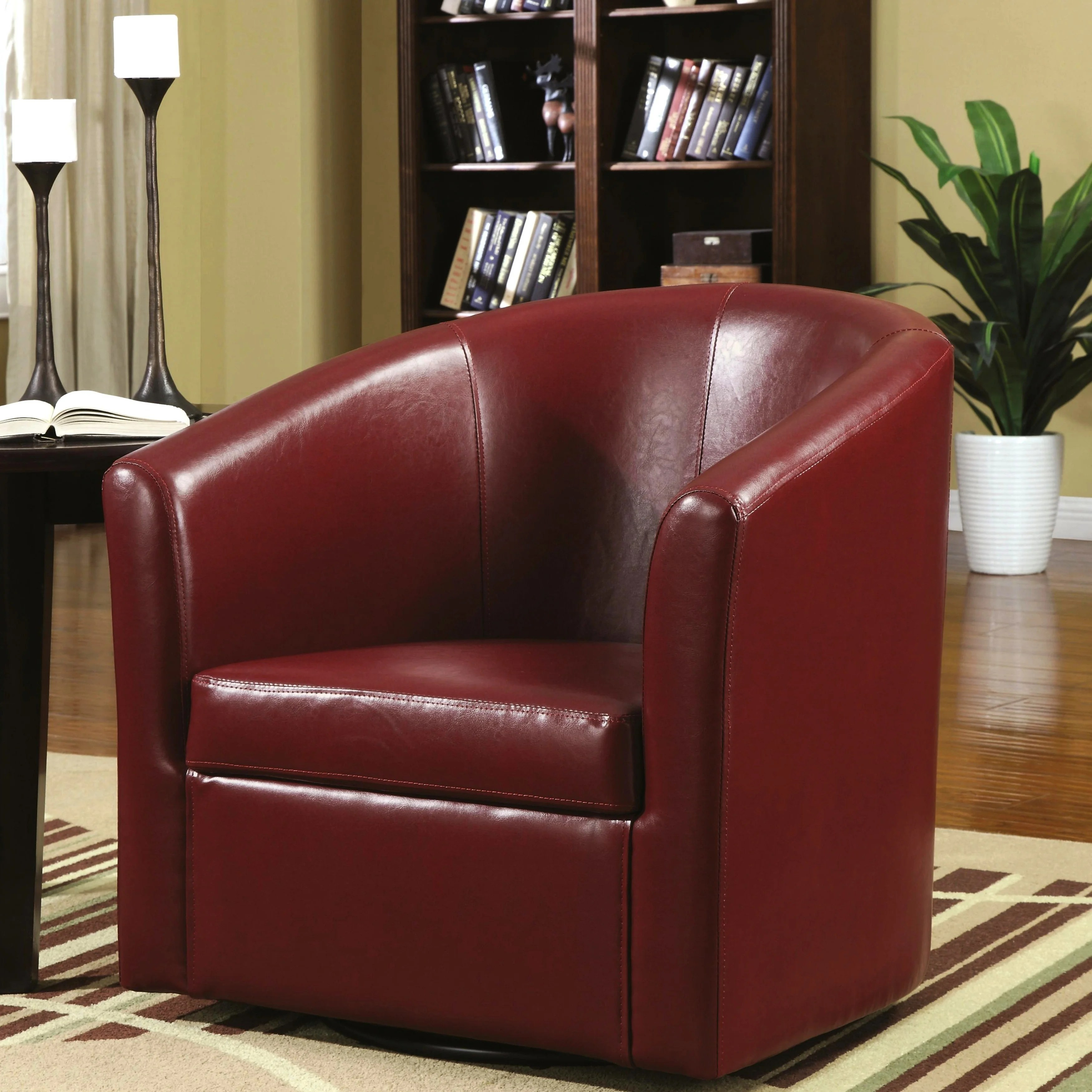Red Living Room Chair Living Room Barrel Style Red Upholstered Swivel Accent Chair