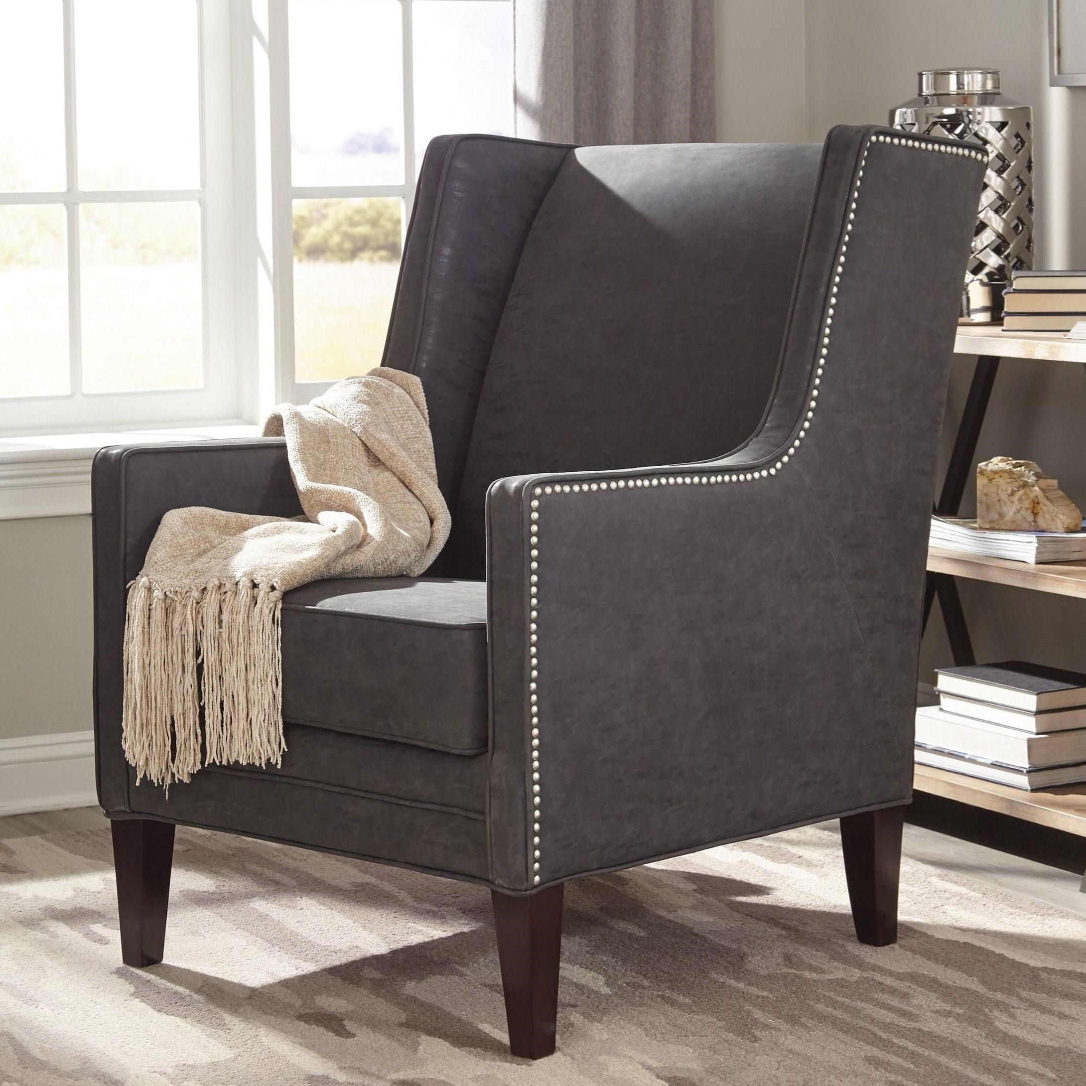 Accent Chair Living Room Wingback Modern Design Living Room Charcoal Grey Accent Chair