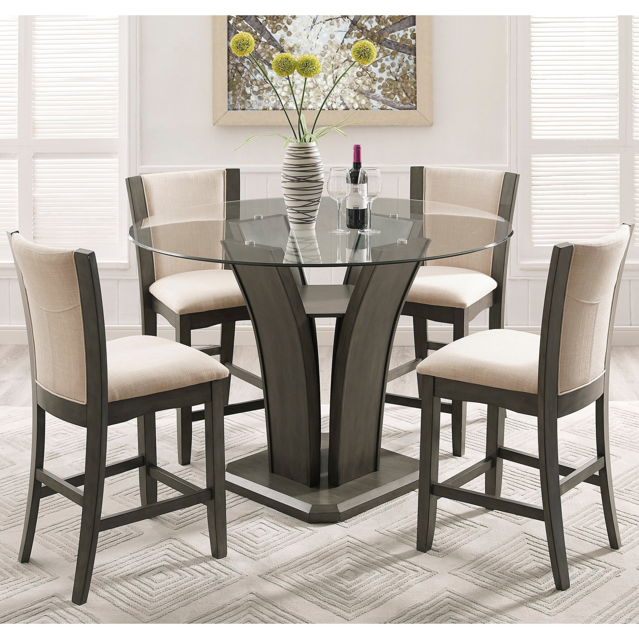 Shop Kecco Gray 5 Piece Round Glass Top Counter Height Dining Set On Sale Overstock 16685521