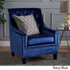 Navy Blue Velvet Club Chair Children Rocking Shop Jaclyn By Christopher Knight Home On Sale