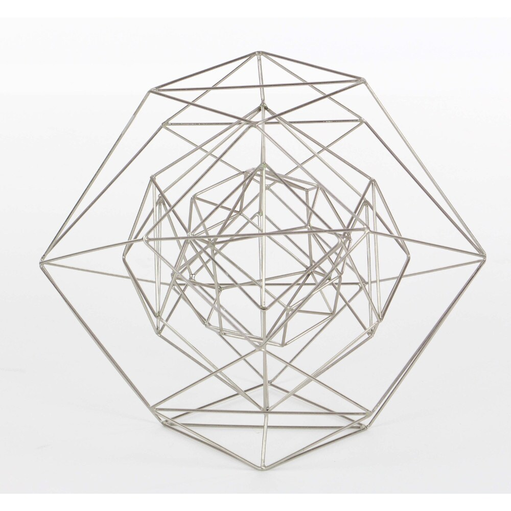 Shop benzara shiny silver metal wire large decorative sphere free