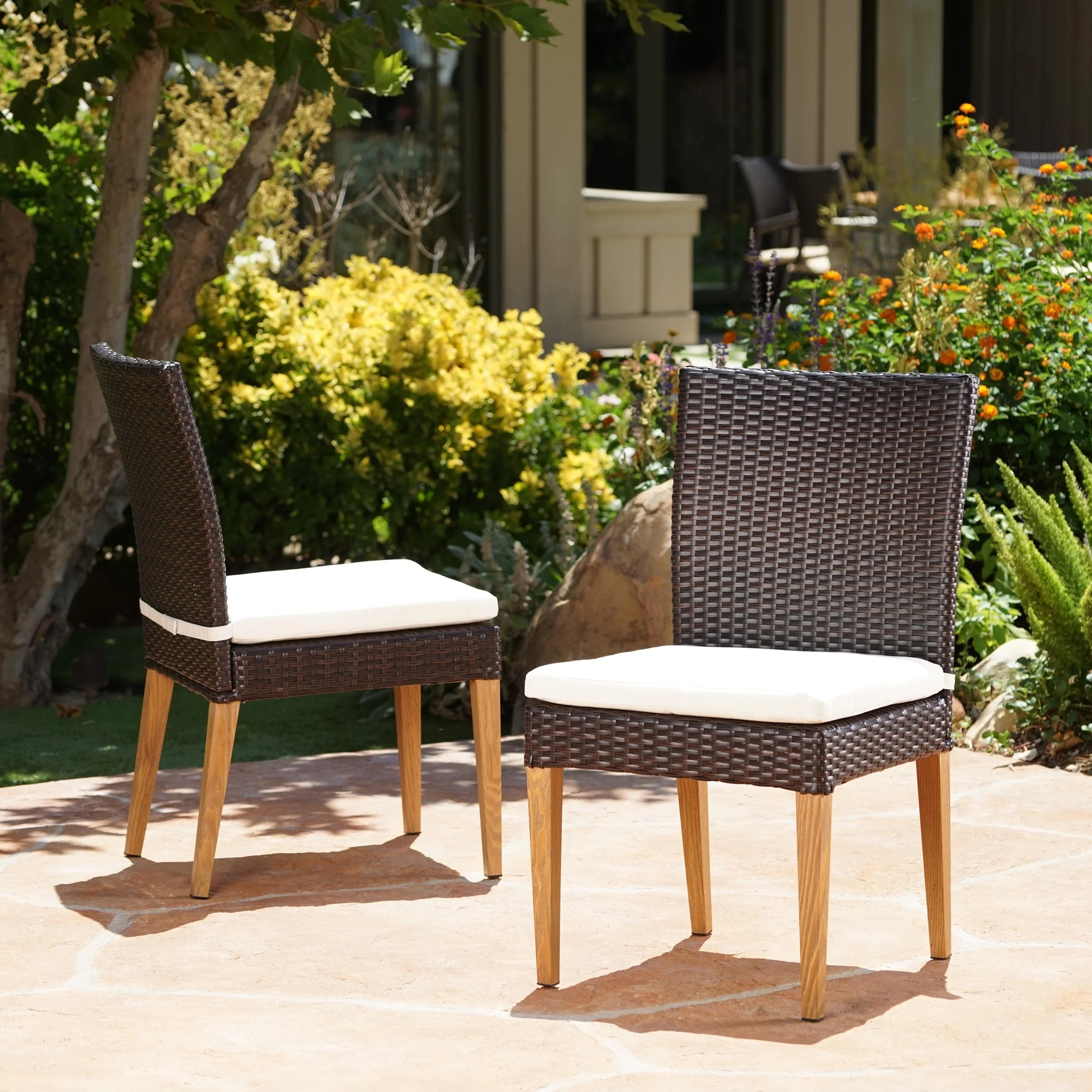 Outdoor Wicker Dining Chairs Santa Barbara Outdoor Wicker Dining Chair With Cushion Set Of 2 By Christopher Knight Home