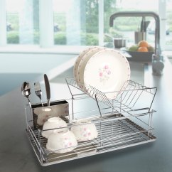 Kitchen Draining Board Moen Sink Faucet Shop Modern Stainless Steel 2 Tier Dish Drying Rack And Organized Utensil Holder Mug Dryer Silver Free Shipping On Orders Over