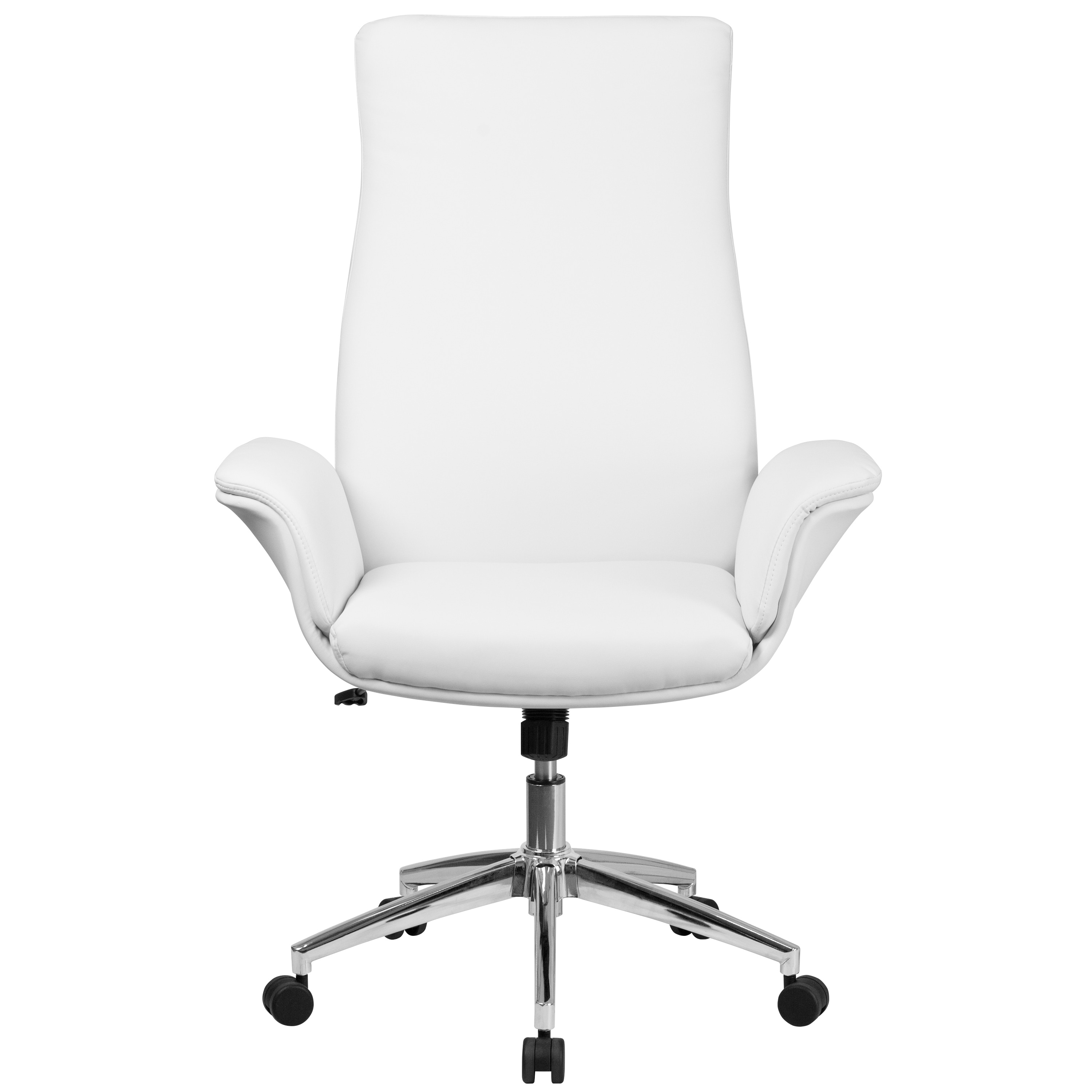 white leather swivel desk chair carters high shop executive back adjustable office with flared arms
