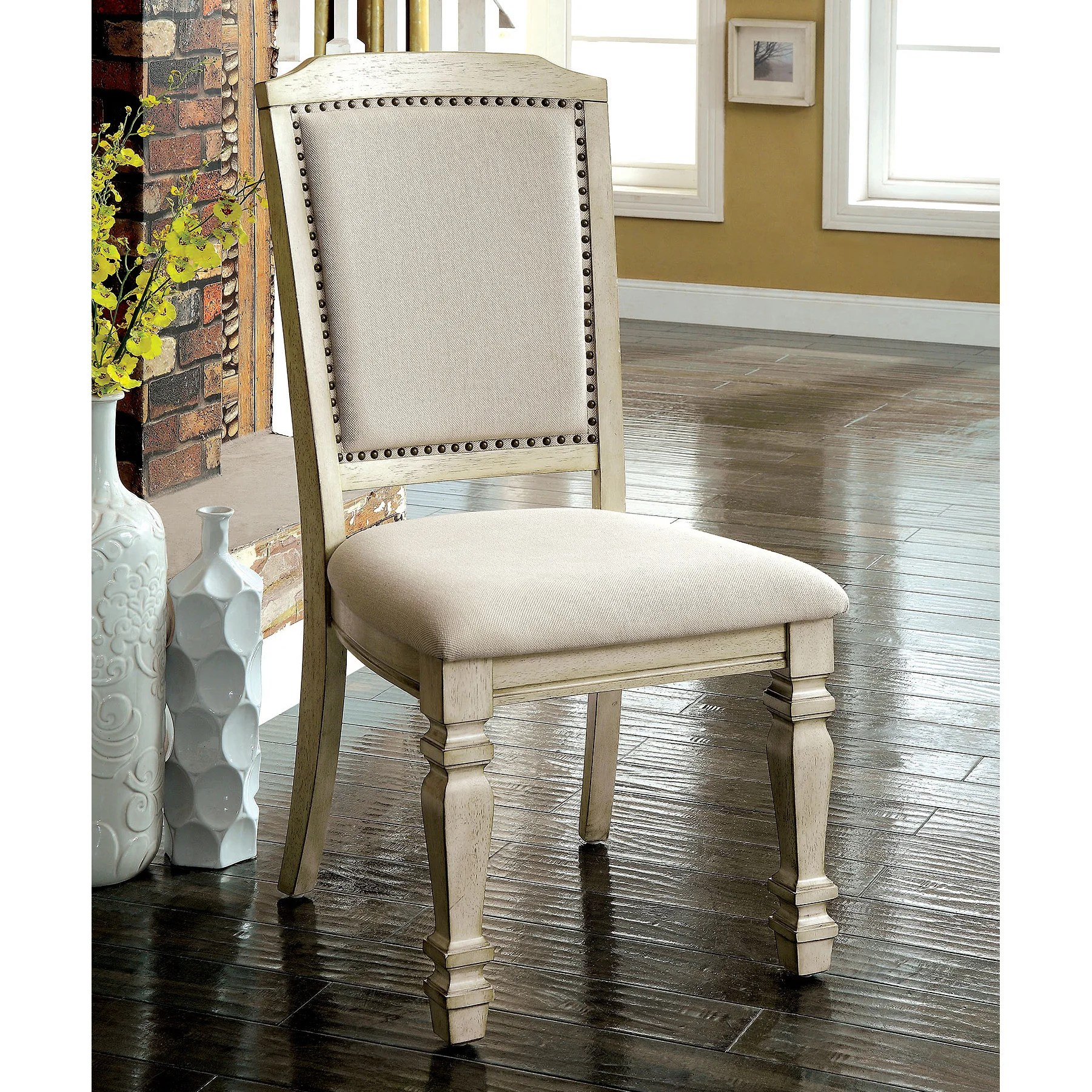 Antique White Dining Chairs Caplin Vintage Antique White Dining Chair Set Of 2 By Foa