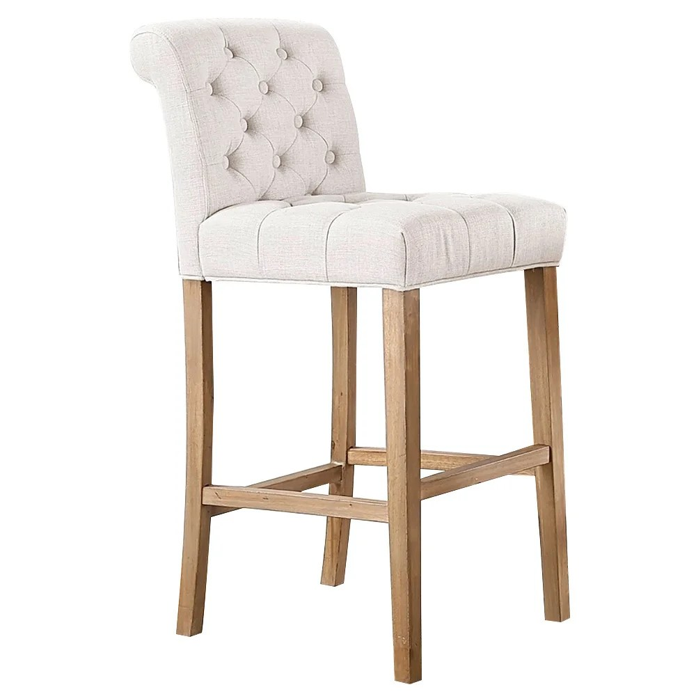 Wood Bar Chairs Carlisle Bar Height Button Tufted Solid Wood Bar Stools Set Of 2