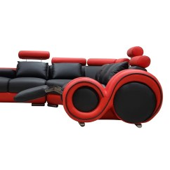 Black And Red Leather Sofa Large Cover Shop Renaissance L Shaped With Rounded Armrests On Sale Free Shipping Today Overstock Com 17433515