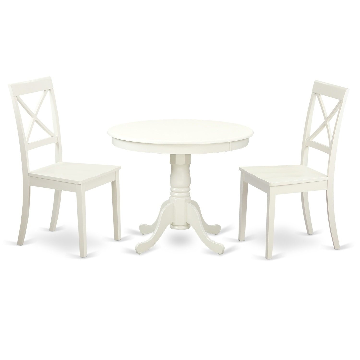 Kitchen Chairs Wood Anbo Lwh W 3 Pc Set Table And 2 Wood Kitchen Chairs In Linen White