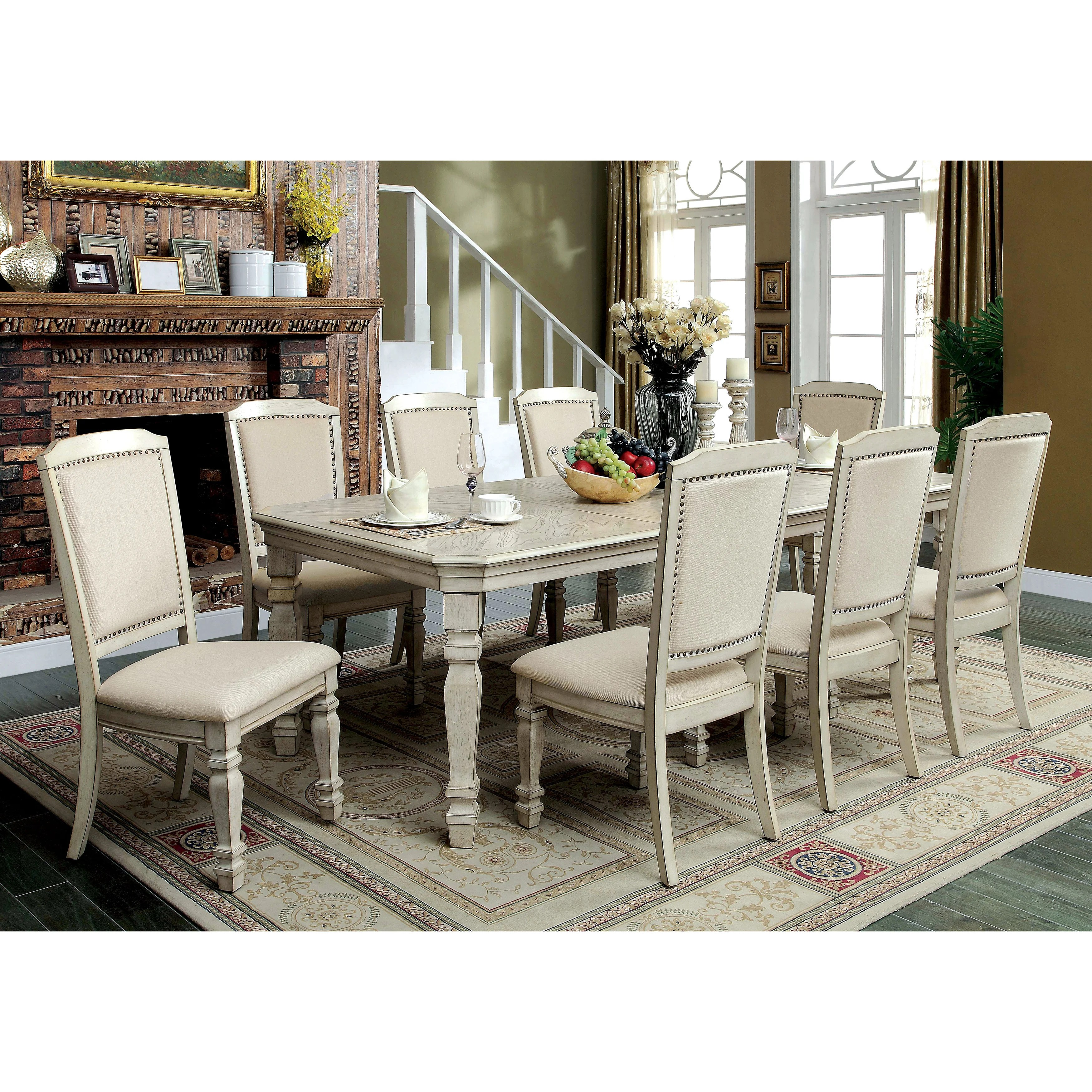 White Dining Room Chair Caplin Traditional 9 Piece Antique White Dining Set By Foa