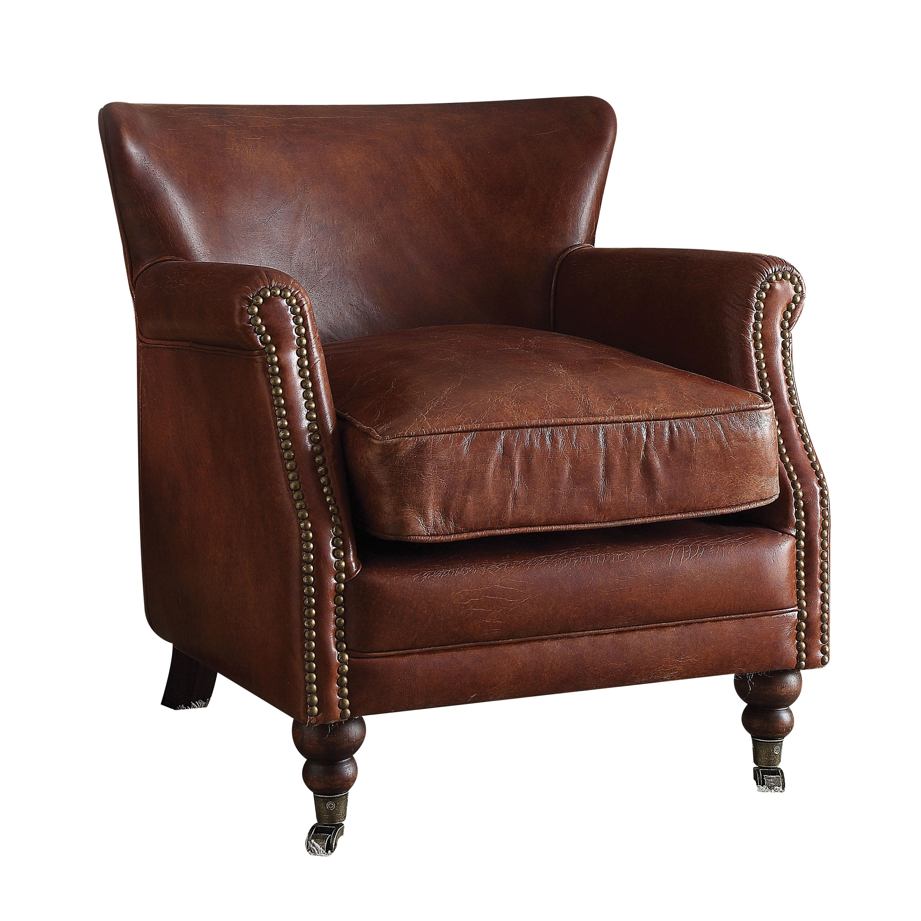 modern leather accent chairs arm chair covers for recliners shop acme furniture leed top grain vintage dark brown free shipping today overstock com 17668762
