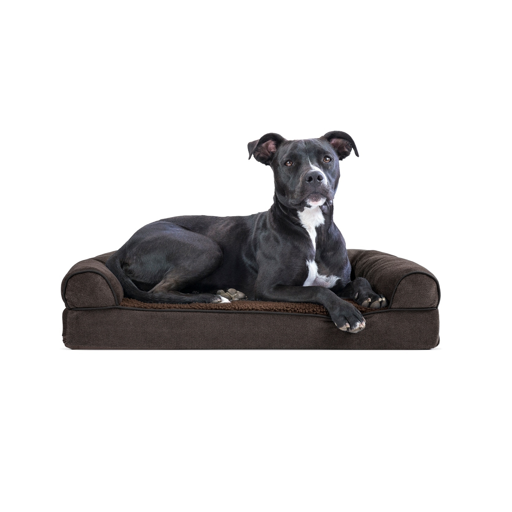 soft sofa dog bed cheapest corner sofas shop furhaven faux fleece chenille woven memory top pet free shipping on orders over 45 overstock com 17698497