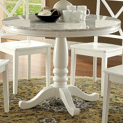 White Round Kitchen Table Redoing A Shop Furniture Of America Laine Country Style Faux Marble Dining
