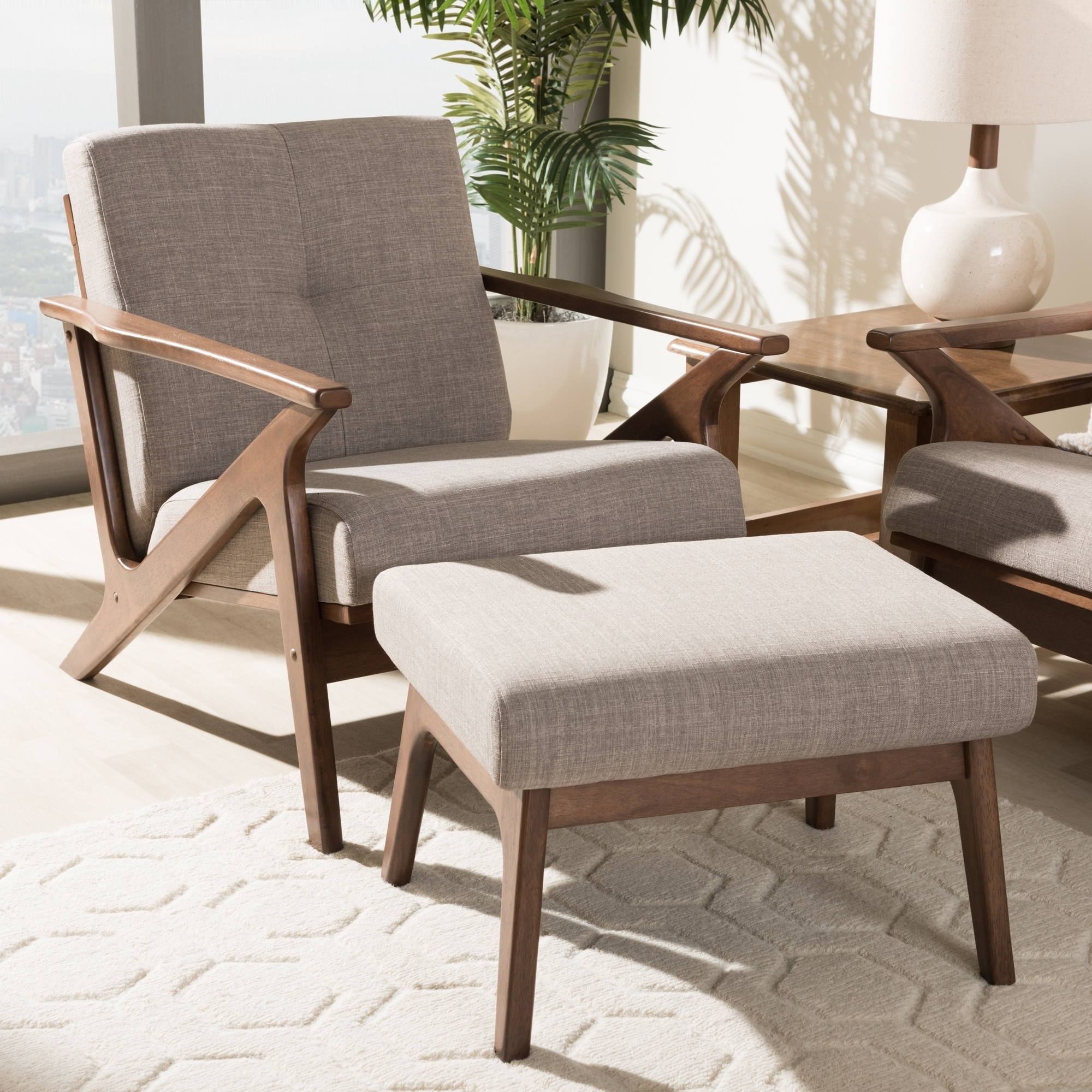 Chair And Ottoman Set Mid Century Lounge Chair And Ottoman Set By Baxton Studio