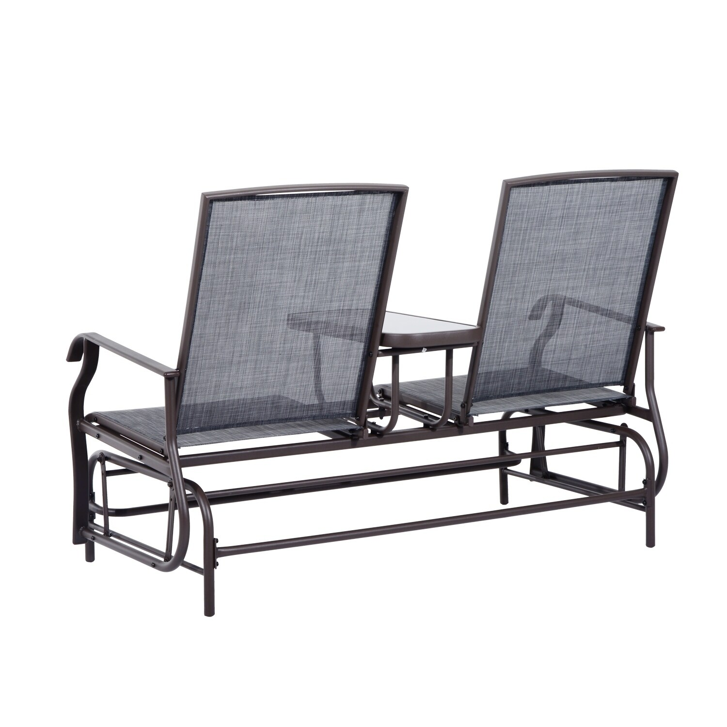 cheap glider chair hanging on grace and frankie shop outsunny two person outdoor mesh fabric patio double with center table free shipping today overstock com 18013207