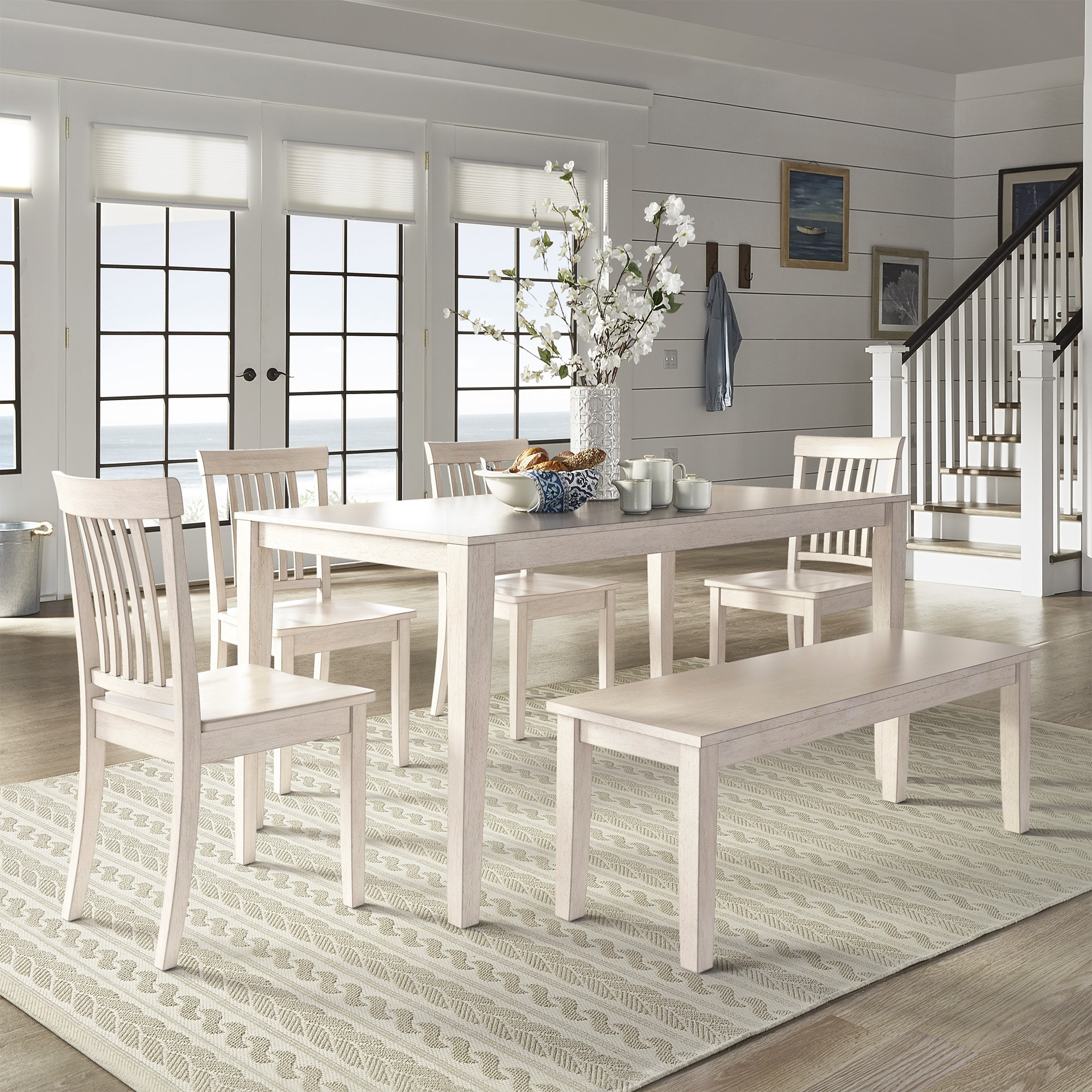 antique white dining chairs bedroom chair retro shop wilmington ii 60 inch rectangular set by inspire q classic