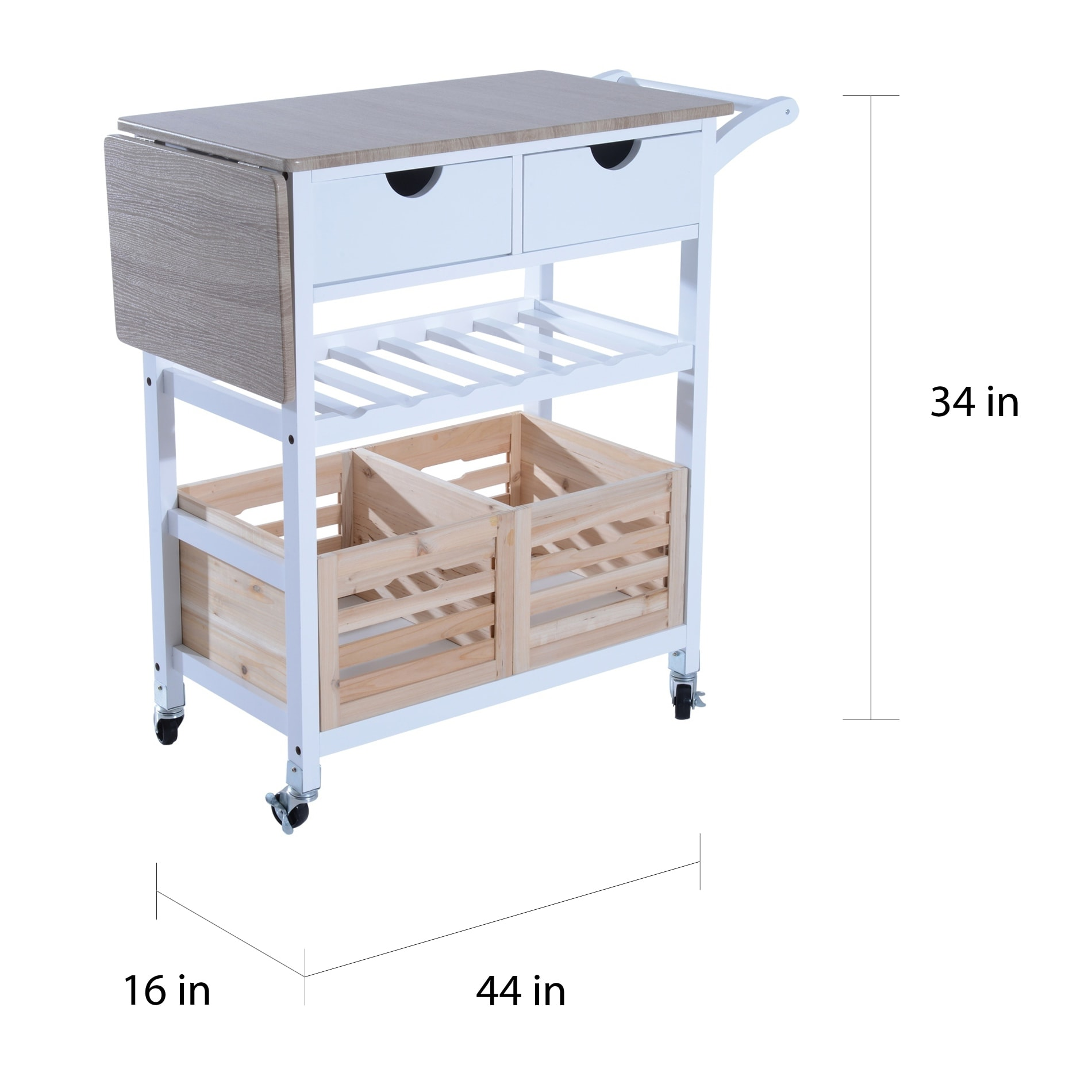 drop leaf kitchen cart carpet sets shop homcom 34 rolling trolley serving with wine rack