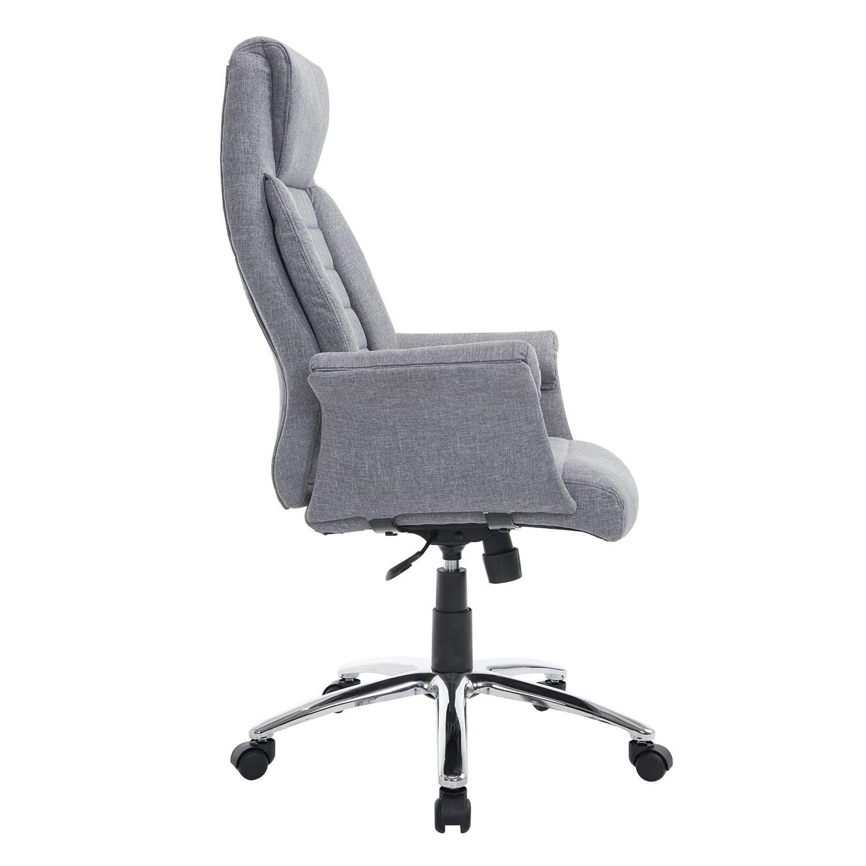 grey material office chair diy bedroom hammock shop homcom high back fabric executive light gray