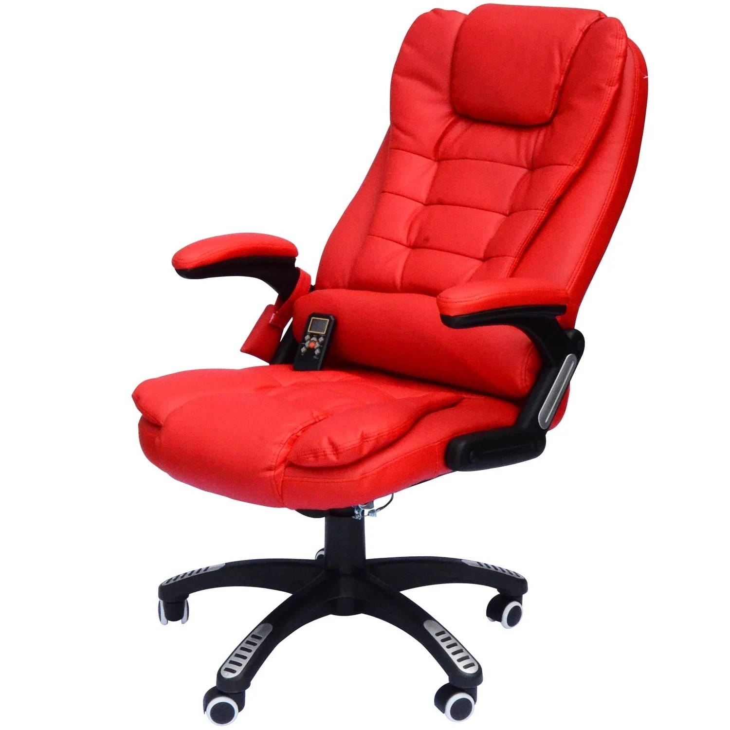 Massage Office Chair Homcom High Back Executive Ergonomic Pu Leather Heated Vibrating Massage Office Chair Red