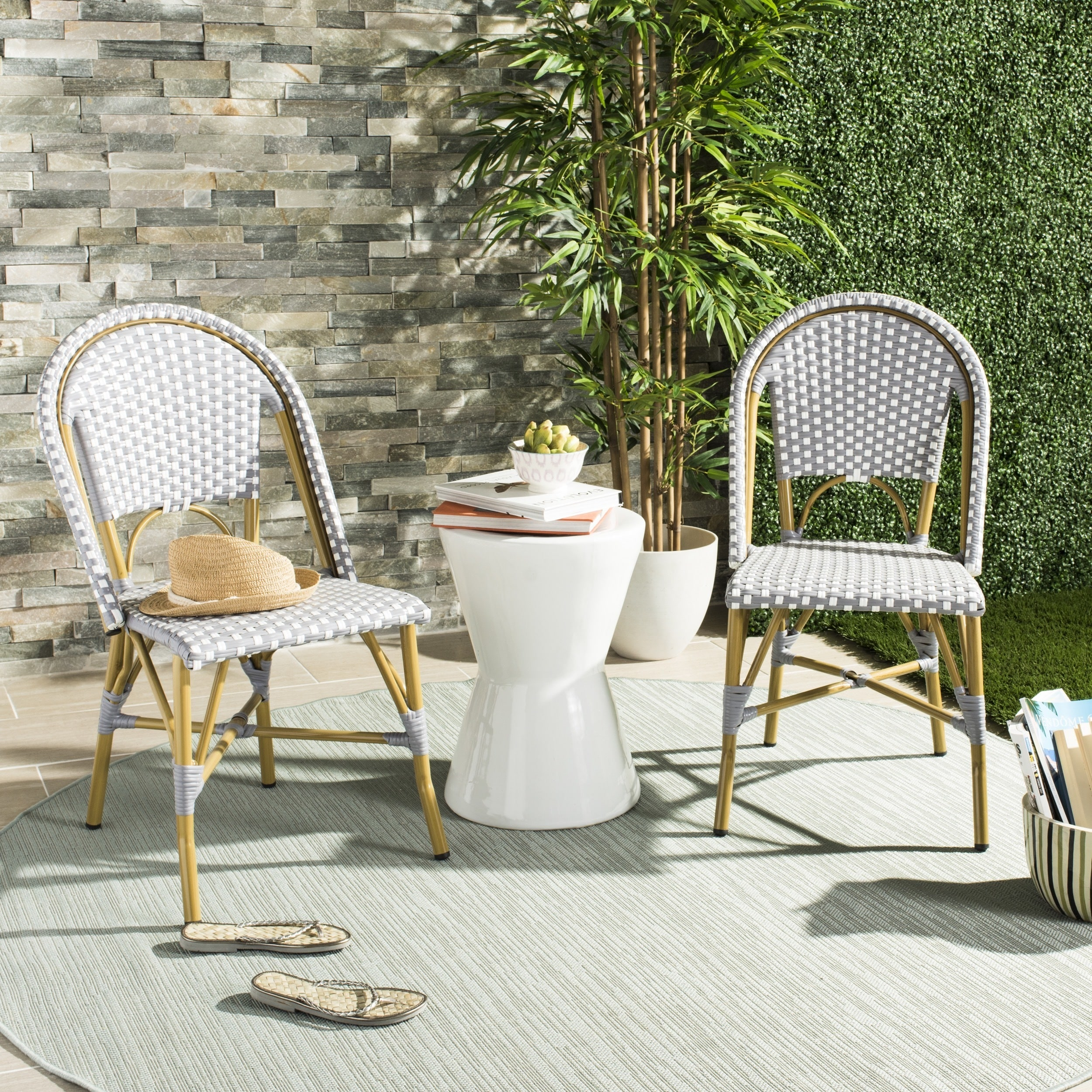 Outdoor French Bistro Chairs Safavieh Salcha Indoor Outdoor French Bistro Grey White Stacking Side Chair Set Of 2