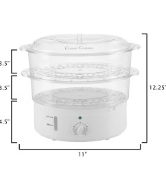 shop vegetable steamer rice cooker 6 3 quart electric steam appliance with timer by classic cuisine free shipping on orders over 45 overstock  [ 2000 x 2000 Pixel ]