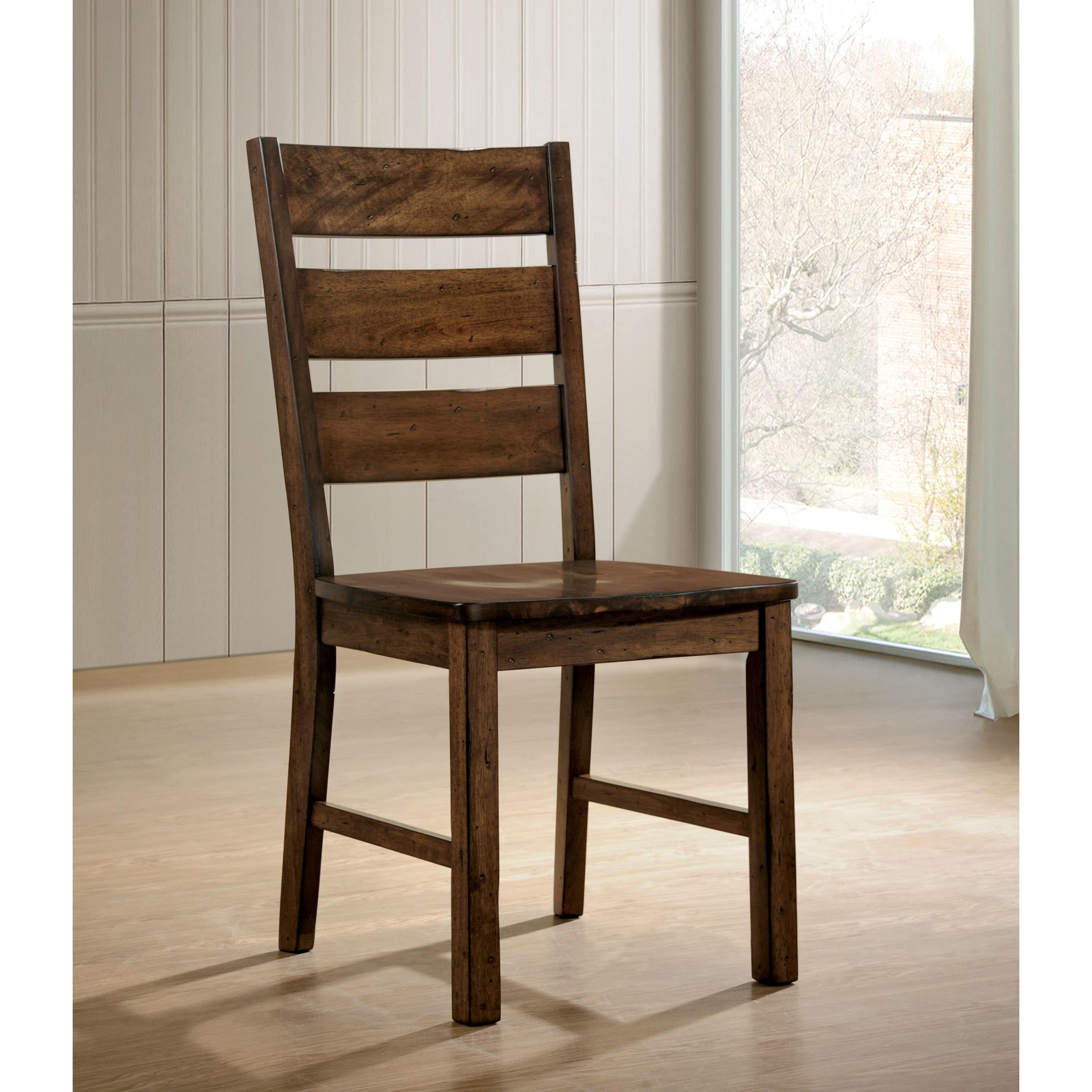 Walnut Dining Chair Terele Rustic Walnut Dining Chairs Set Of 2 By Foa