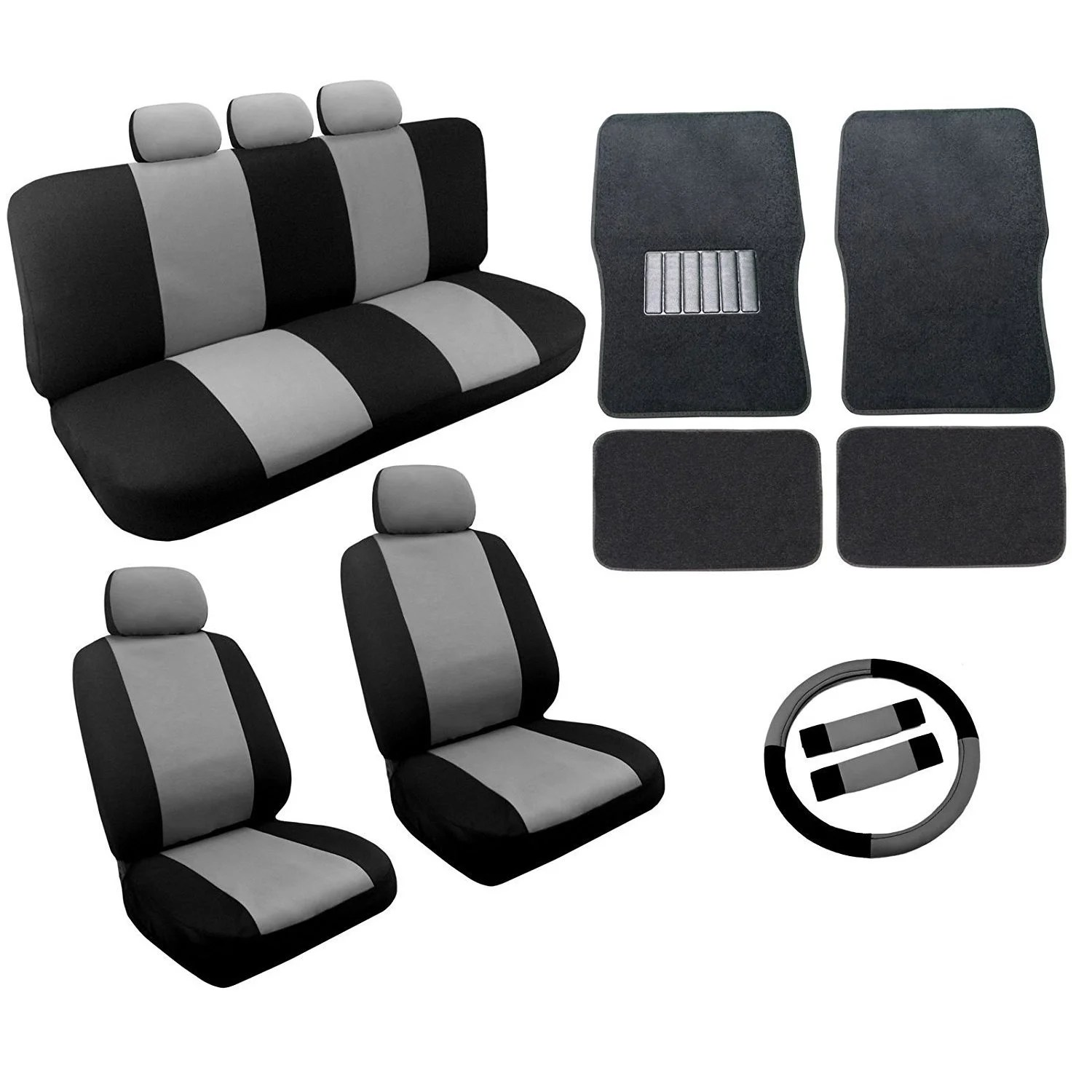 office chair seat covers black desk armrest shop gray two tone car mats set 18pc nissan versa free shipping today overstock com 18695353