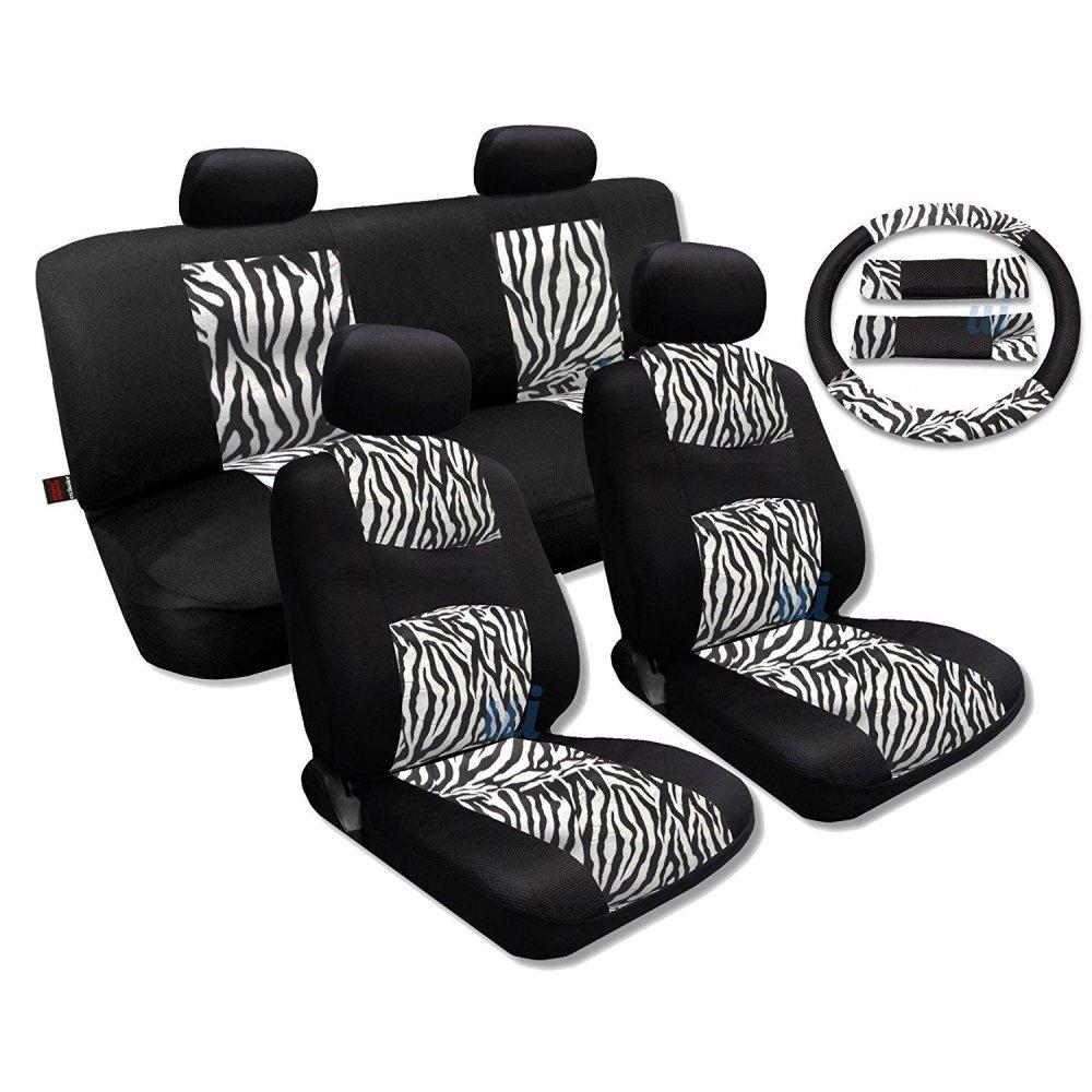 medium resolution of shop white zebra fur black mesh cool breeze animal print seat cover saab free shipping today overstock com 18695852