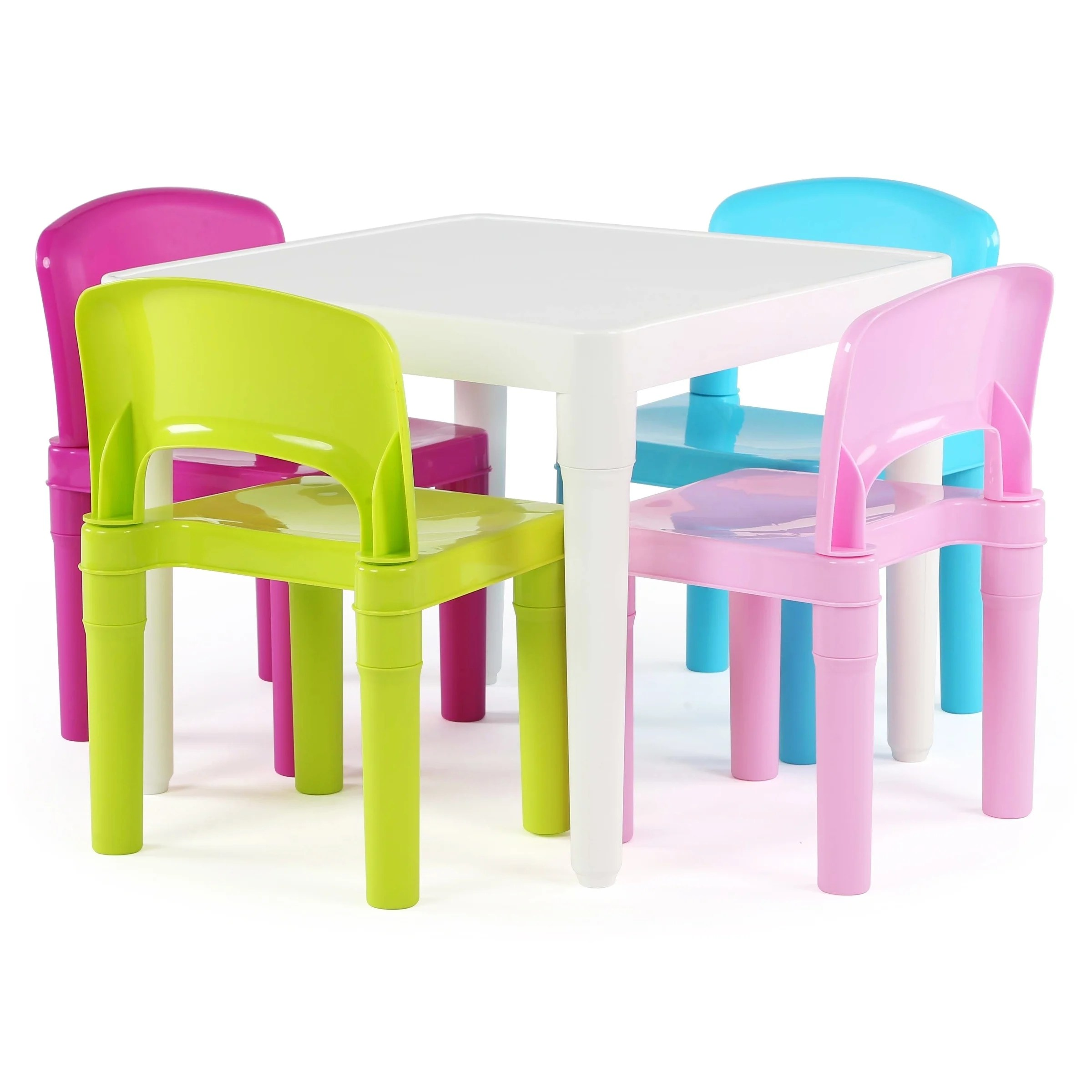 Plastic Kids Chairs Playtime Collection Kids Plastic Table 4 Chairs White Bright Colors White