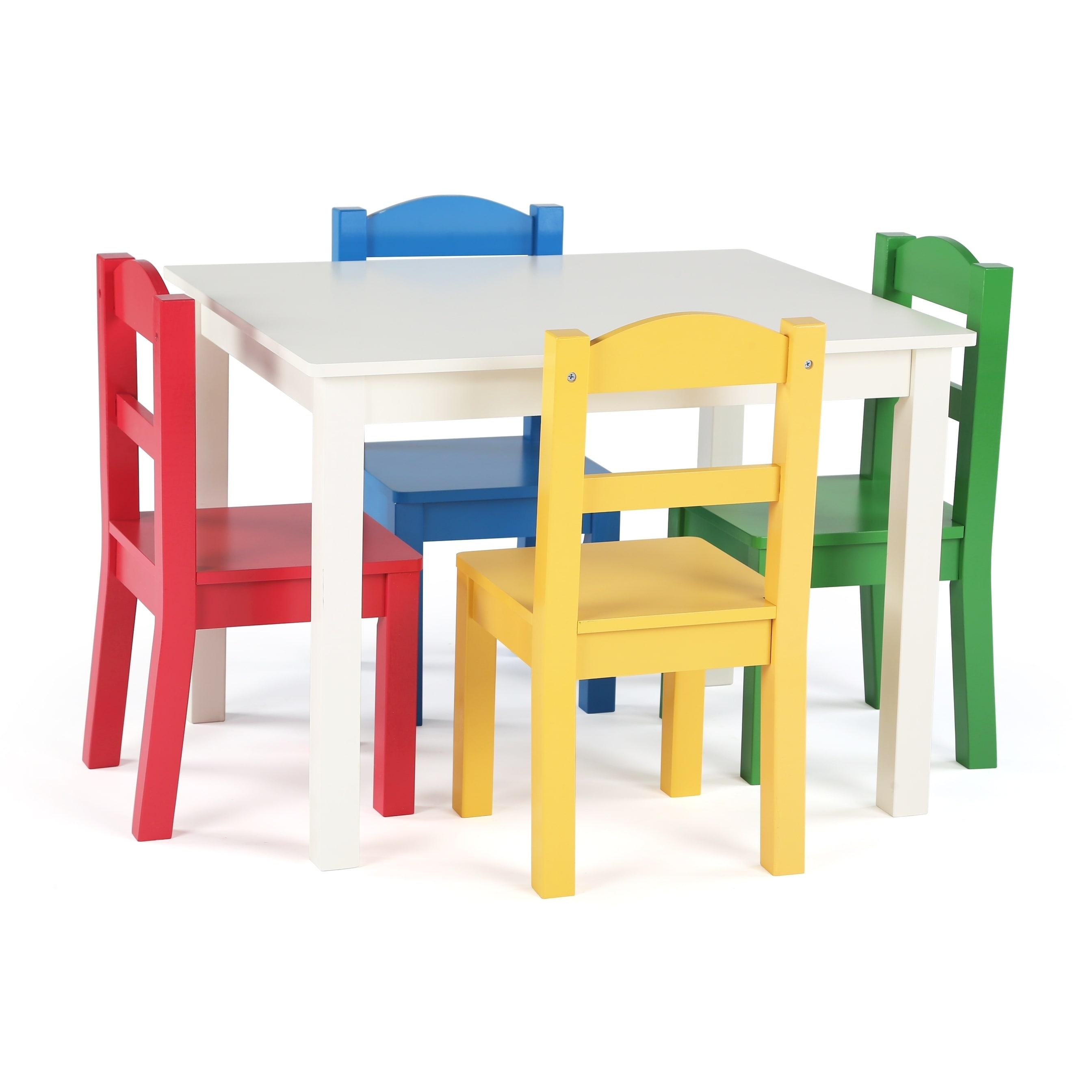 Kids Wood Table And Chairs Summit Collection Kids Wood Table And 4 Chairs Set White Primary Multi
