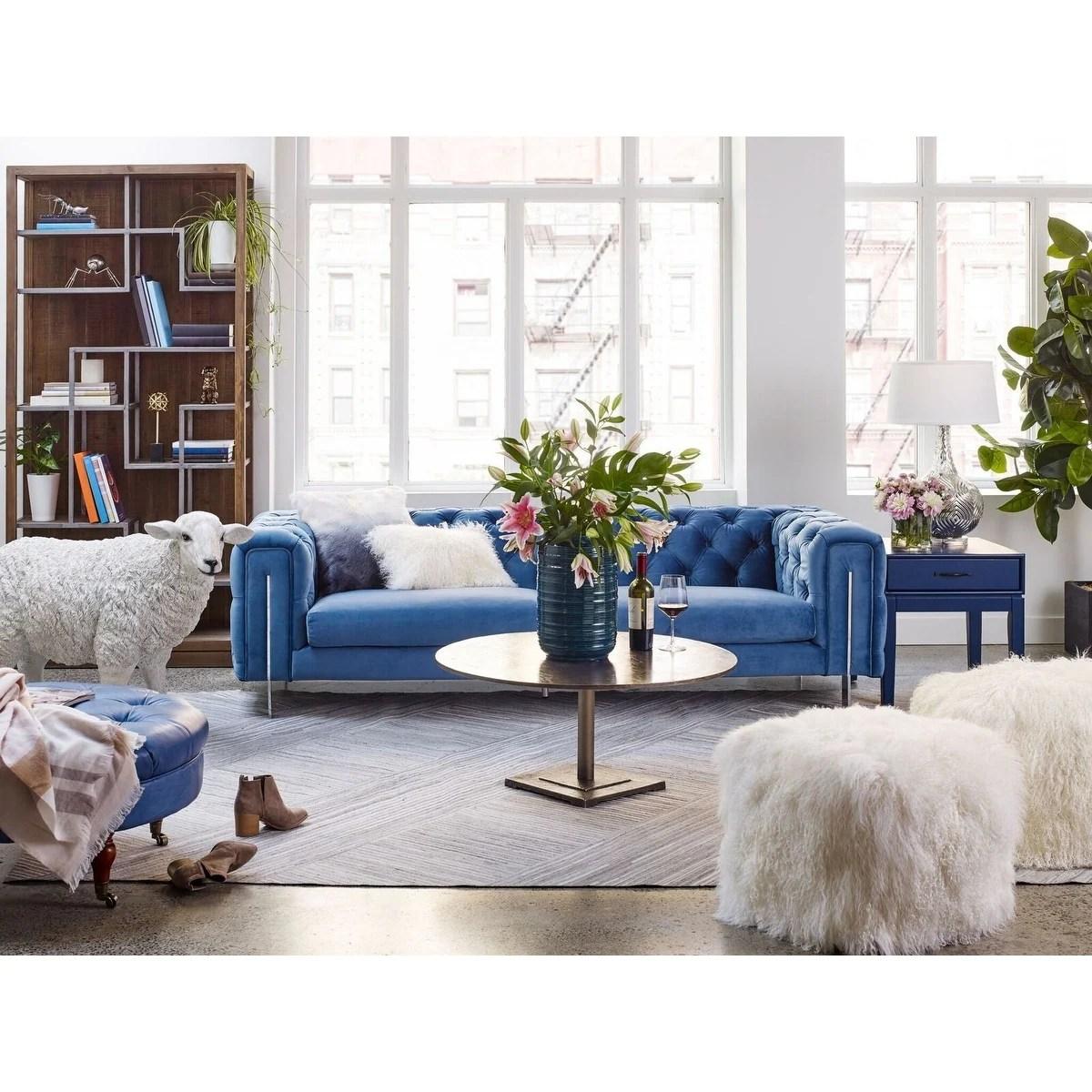 blue velvet chesterfield sofa leather sofas miami shop aurelle home modern on sale
