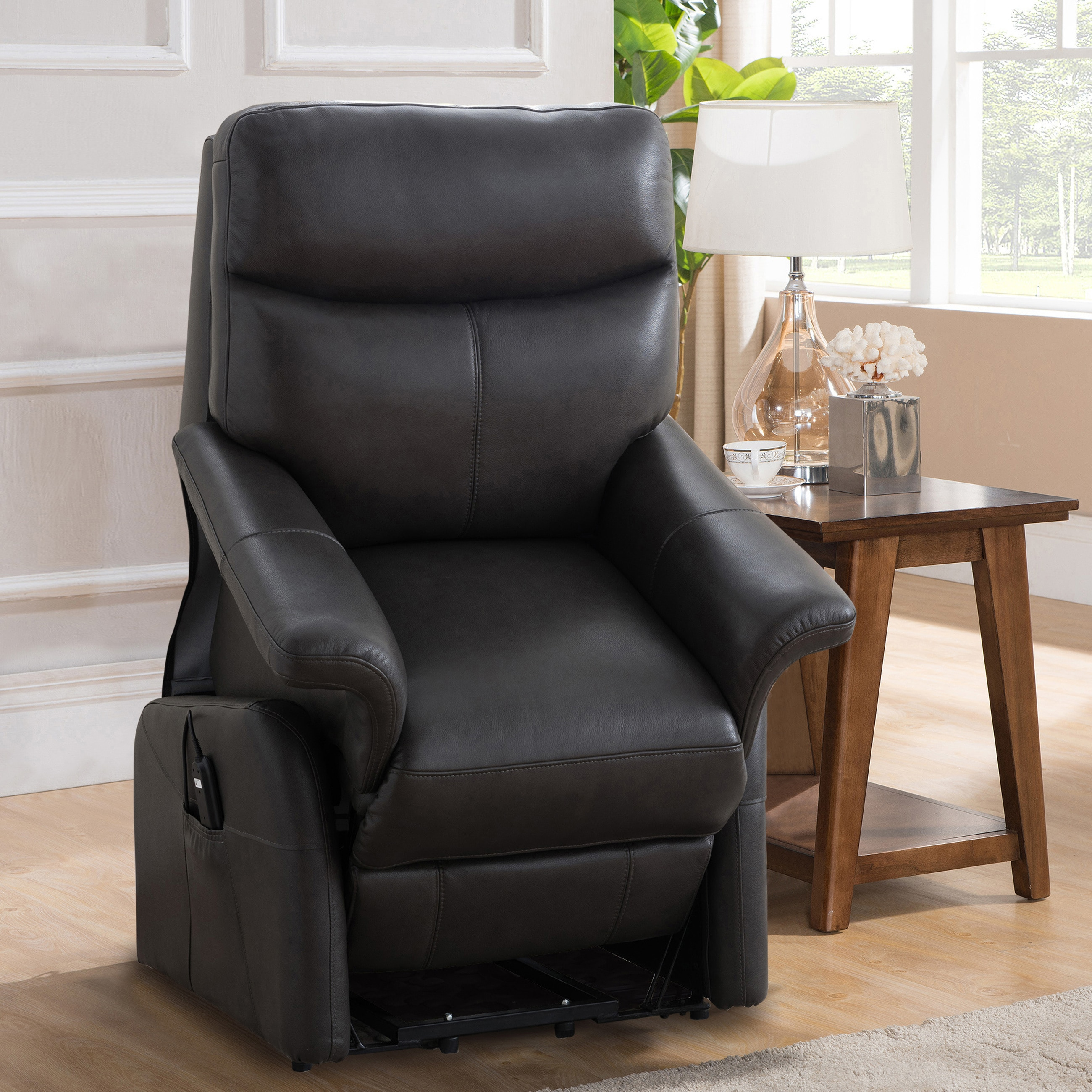 lay flat recliner chairs office chair staples canada shop isla grey top grain leather power lift and on sale free shipping today overstock com 18754815